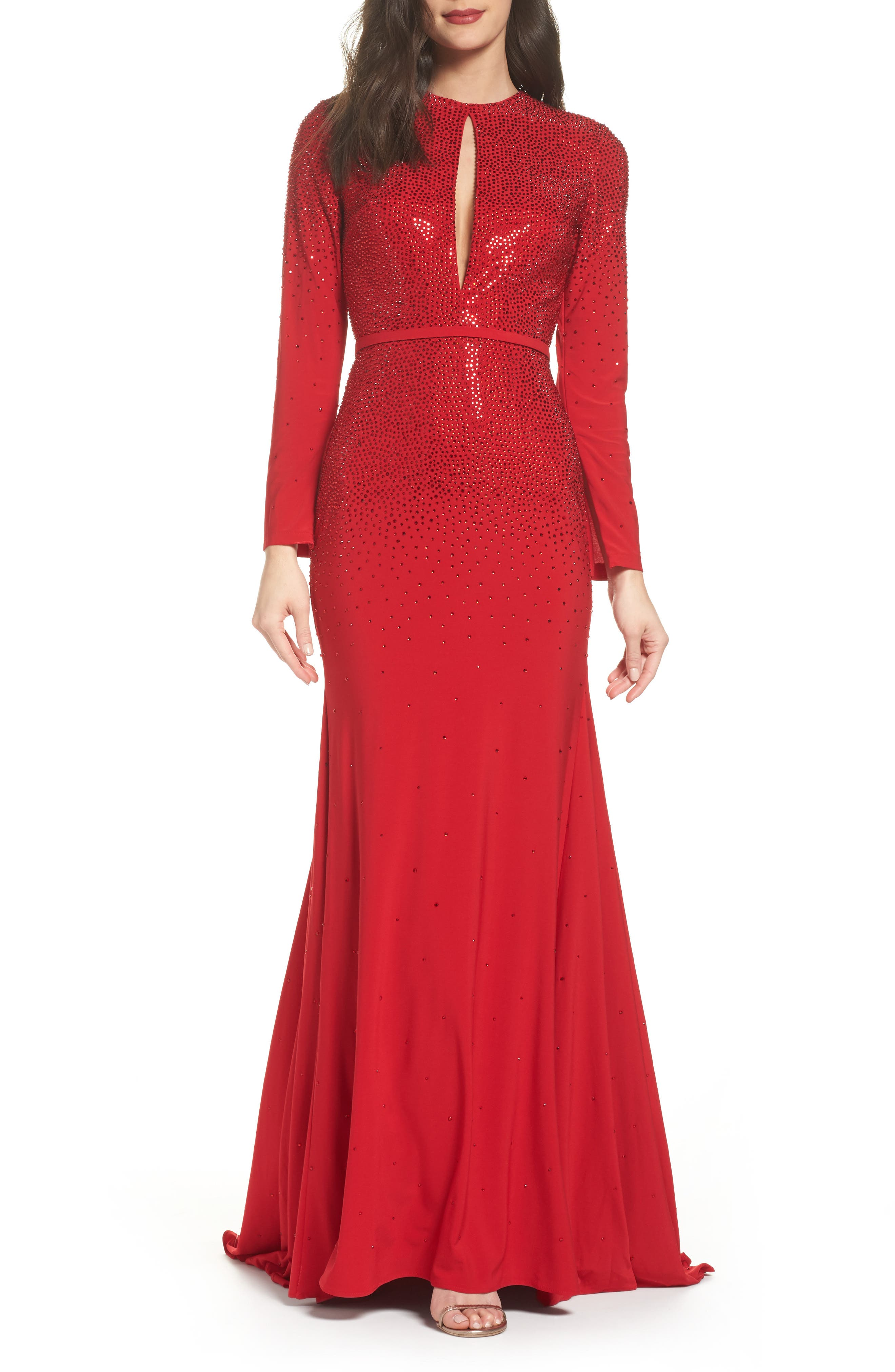 Keyhole Mermaid Gown,                             Main thumbnail 1, color,                             Red