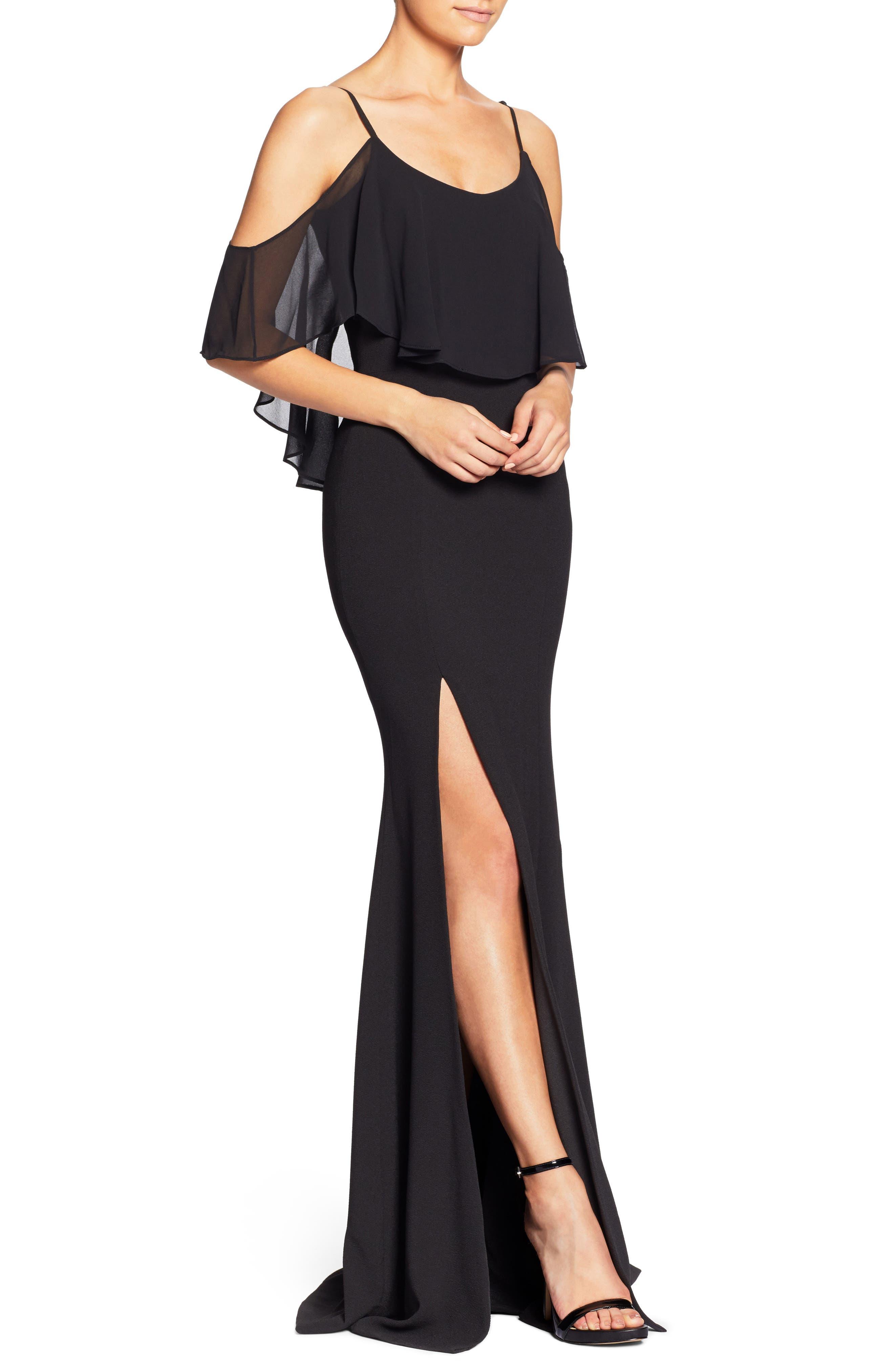 Diana Cold Shoulder Side Slit Gown,                             Alternate thumbnail 5, color,                             Black