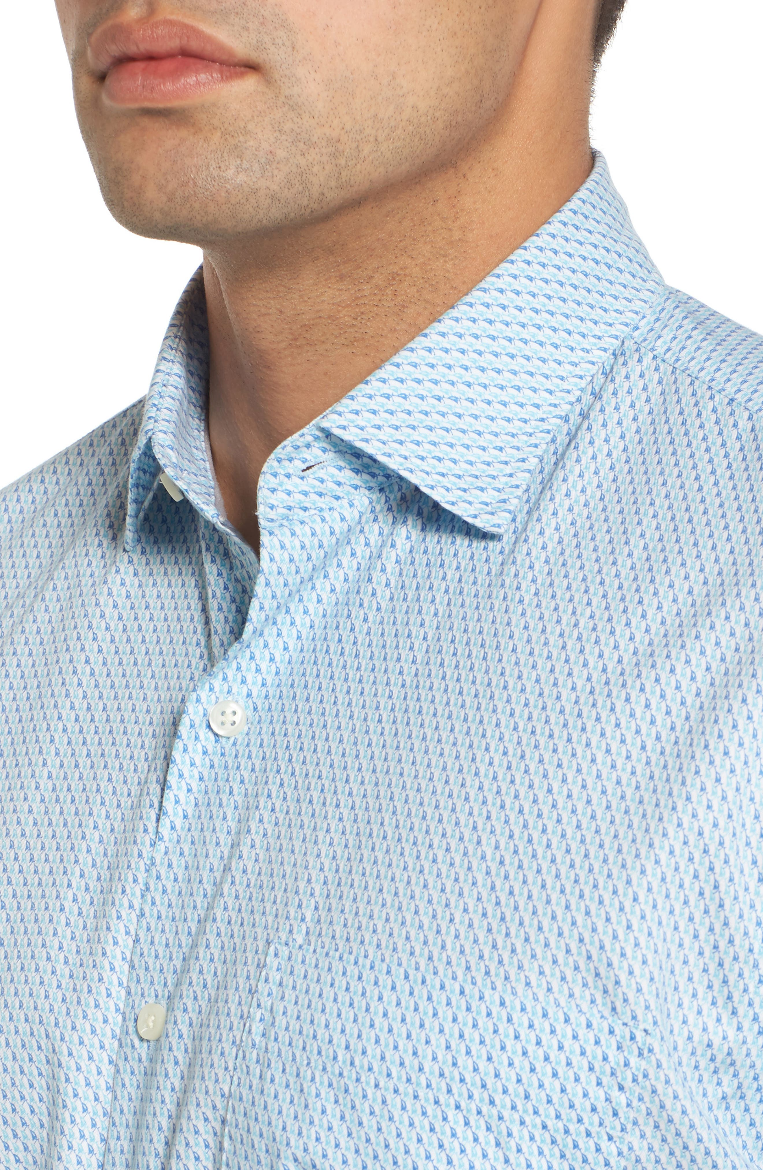 Sail Away Regular Fit Cotton & Silk Sport Shirt,                             Alternate thumbnail 4, color,                             Bonnet