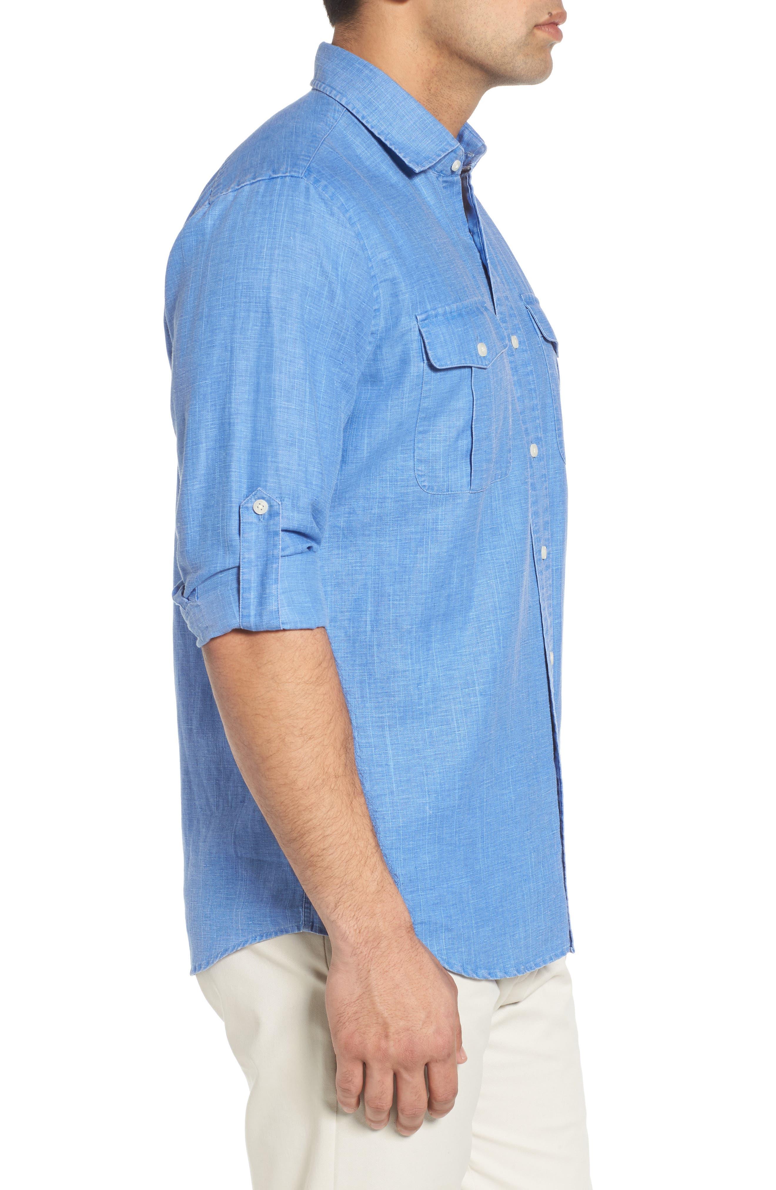 Alternate Image 3  - Peter Millar Harkers Regular Fit Herringbone Sport Shirt