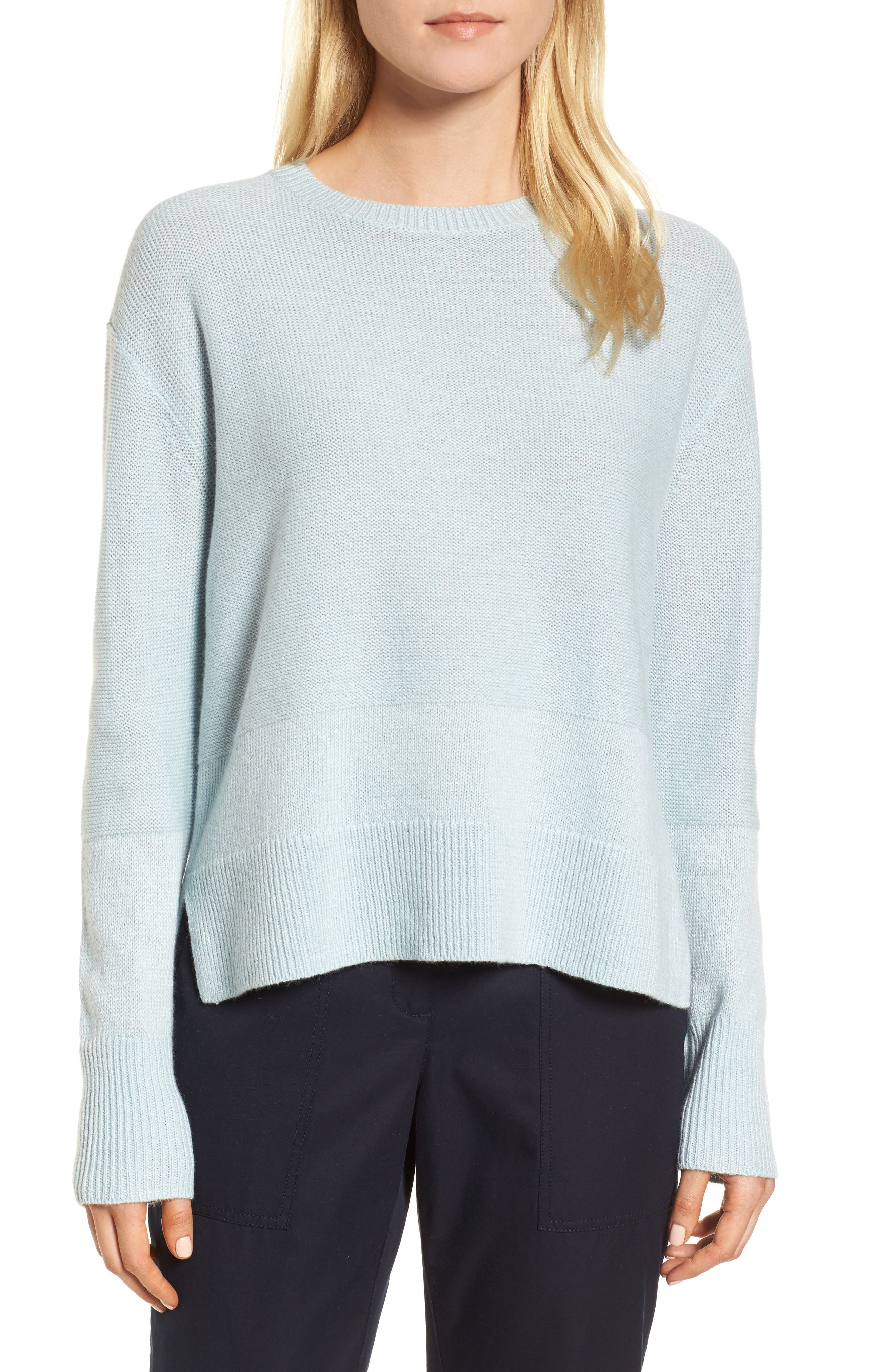 Linen & Cashmere Sweater,                         Main,                         color, Teal Steam
