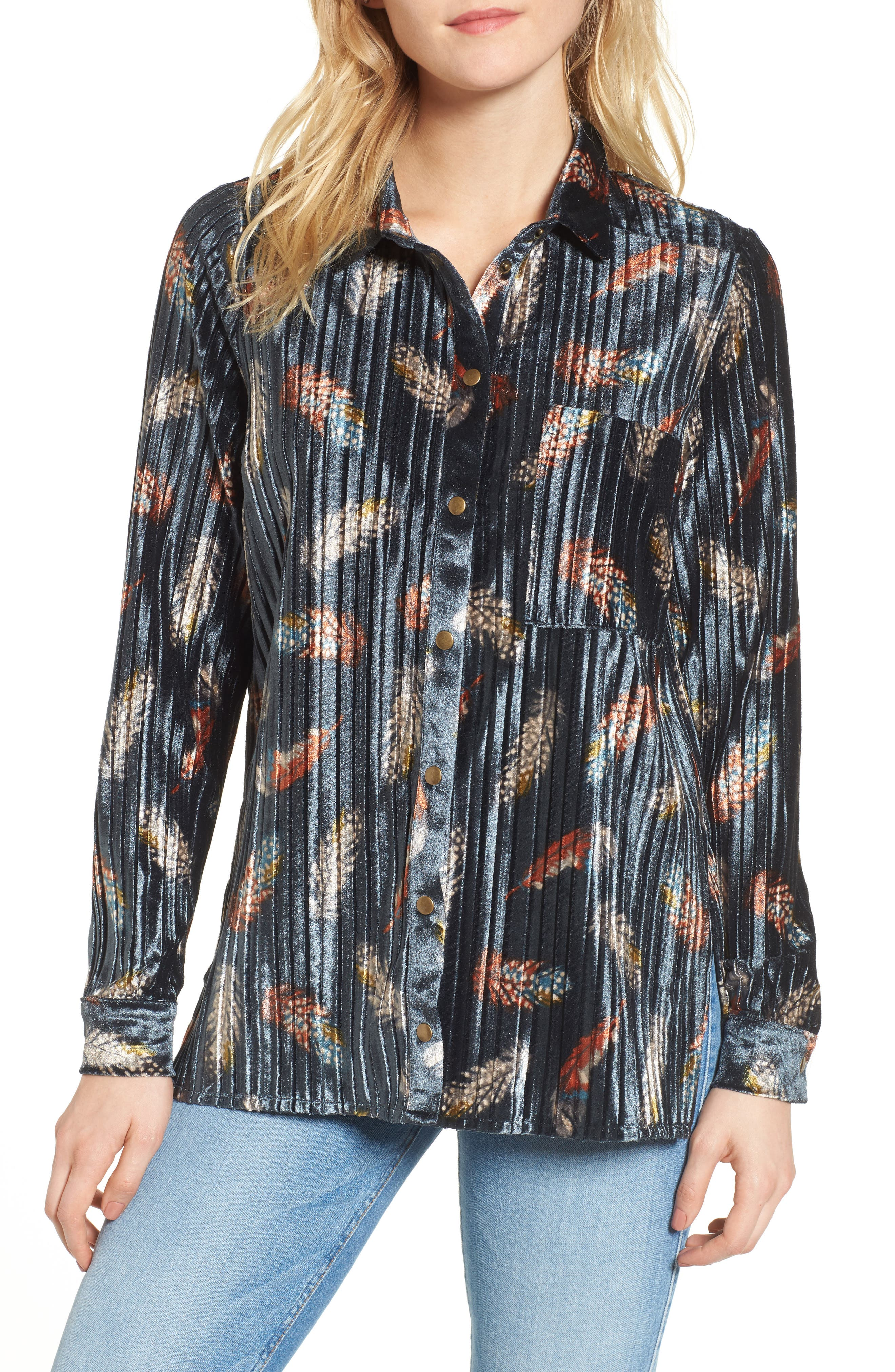 Bishop + Young Pleated Velvet Blouse,                             Main thumbnail 1, color,                             Print