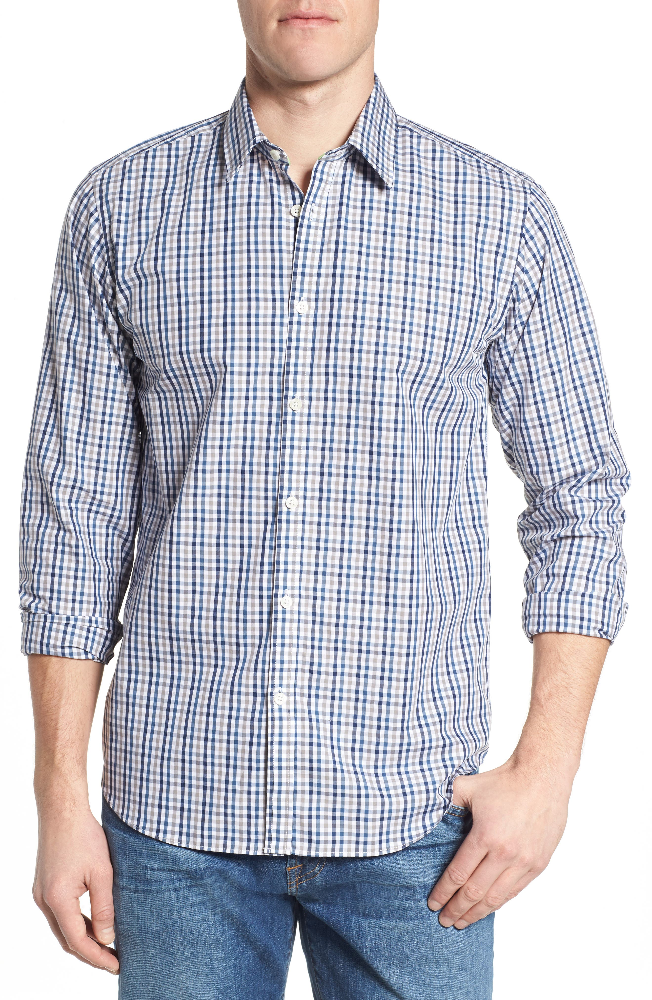 Comfort Fit Check Sport Shirt,                         Main,                         color, Medium Blue