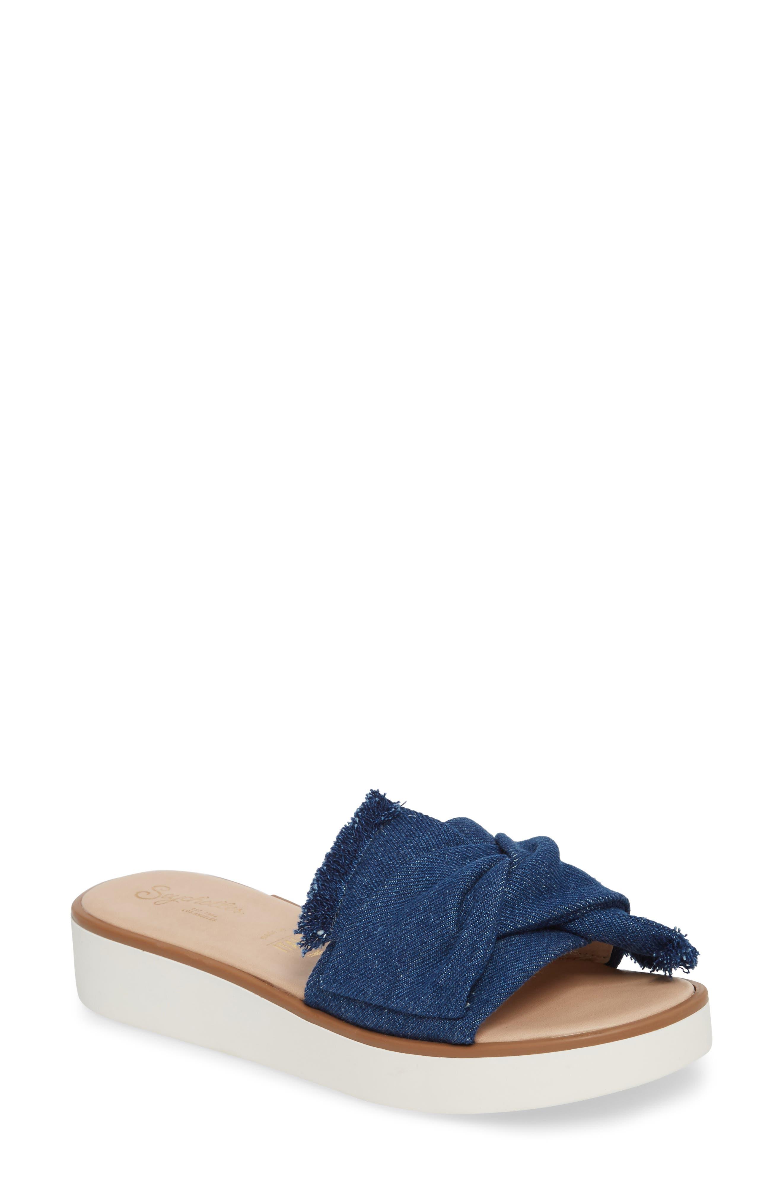 Coast II Slide Sandal,                         Main,                         color, Denim Frayed Fabric
