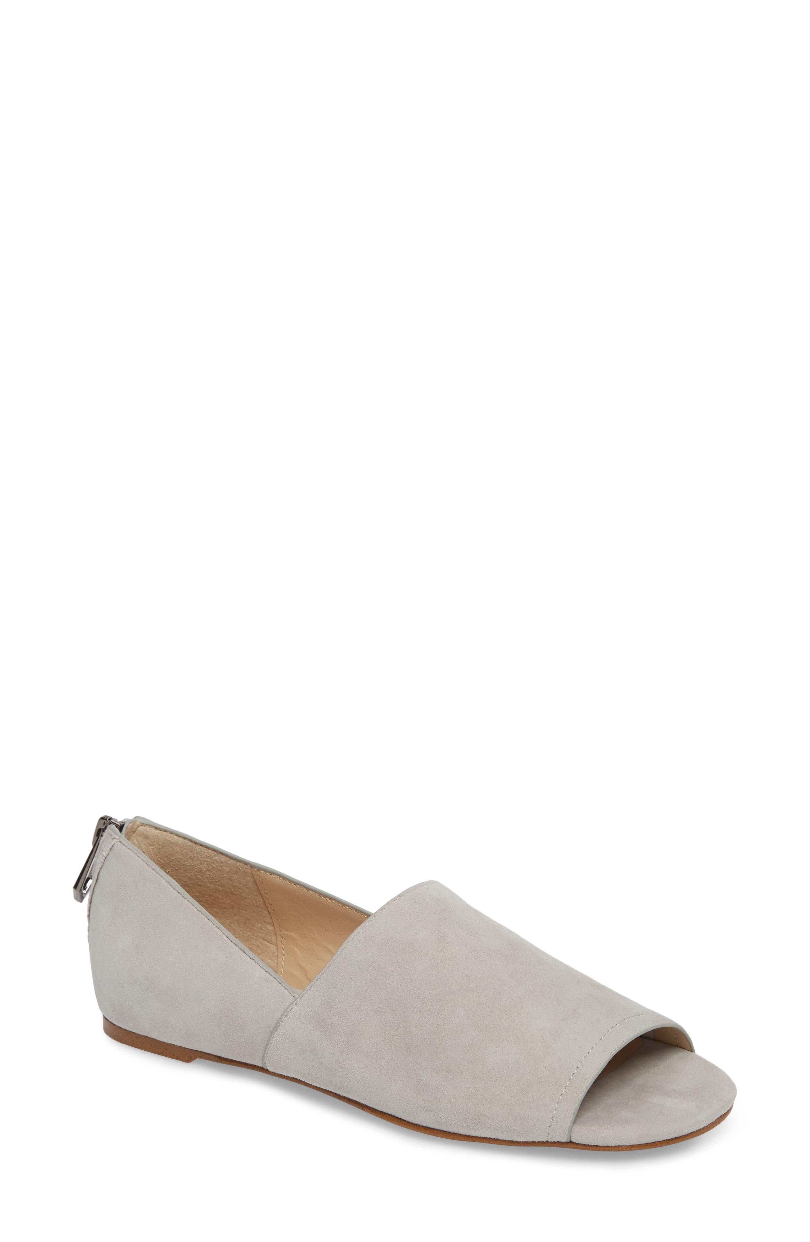 Maxine Peep Toe Flat,                         Main,                         color, Clay Suede