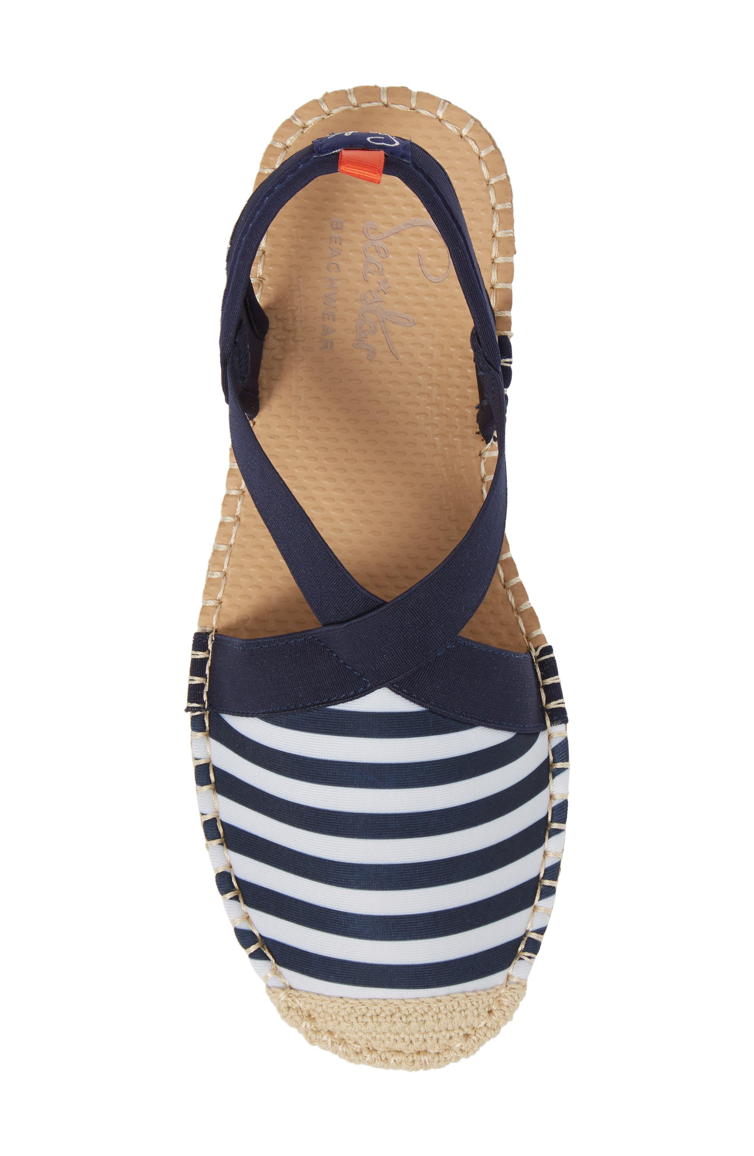 Sea Star Slingback Espadrille Water Shoe,                             Alternate thumbnail 5, color,                             Navy/ White Stripes