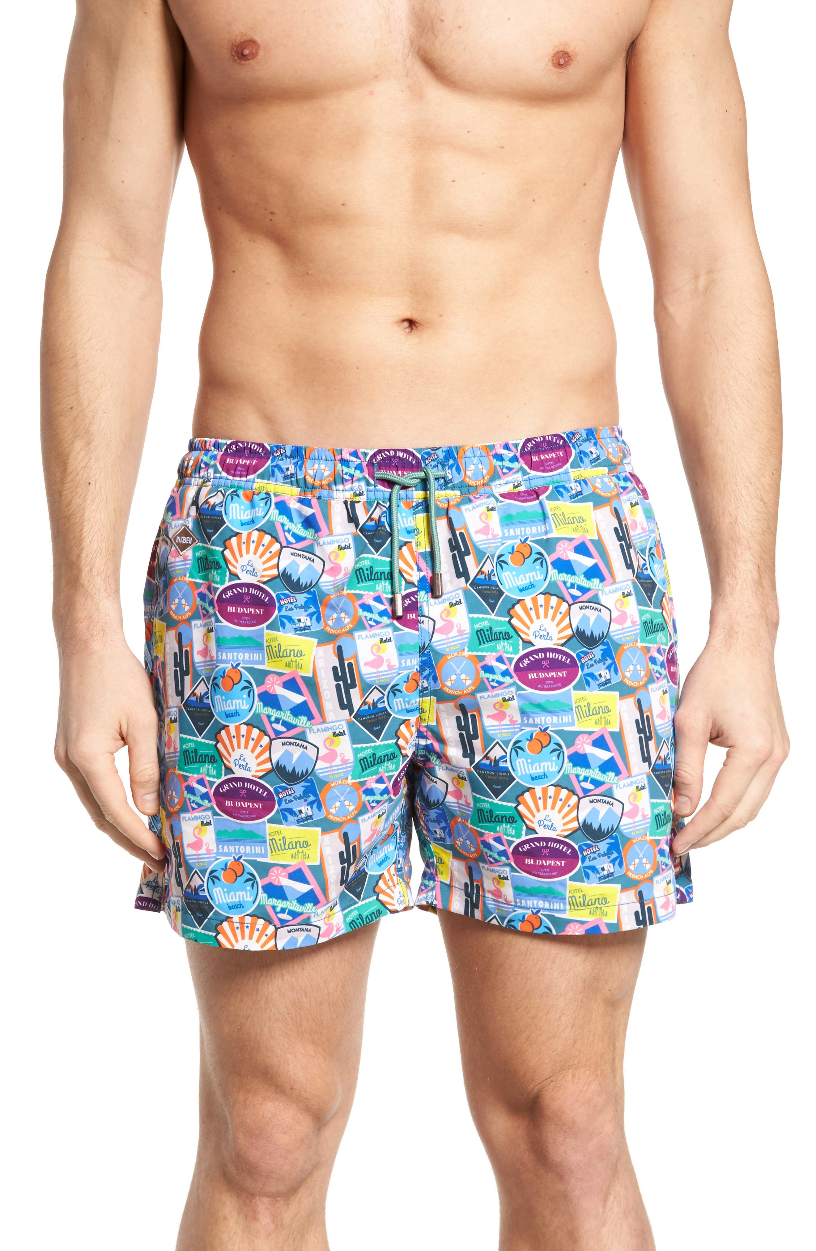 City Sticker Slim Fit Swim Trunks,                         Main,                         color, Turqouise