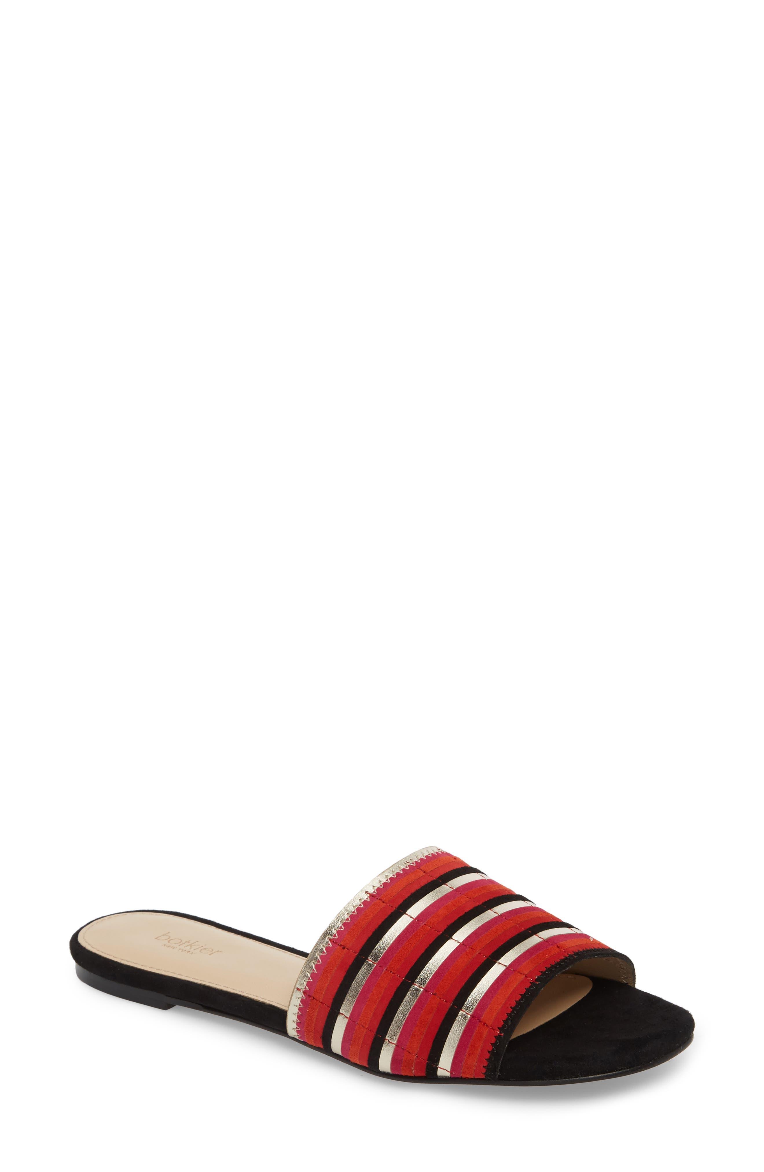 Marley Slide Sandal,                             Main thumbnail 1, color,                             Poppy Suede
