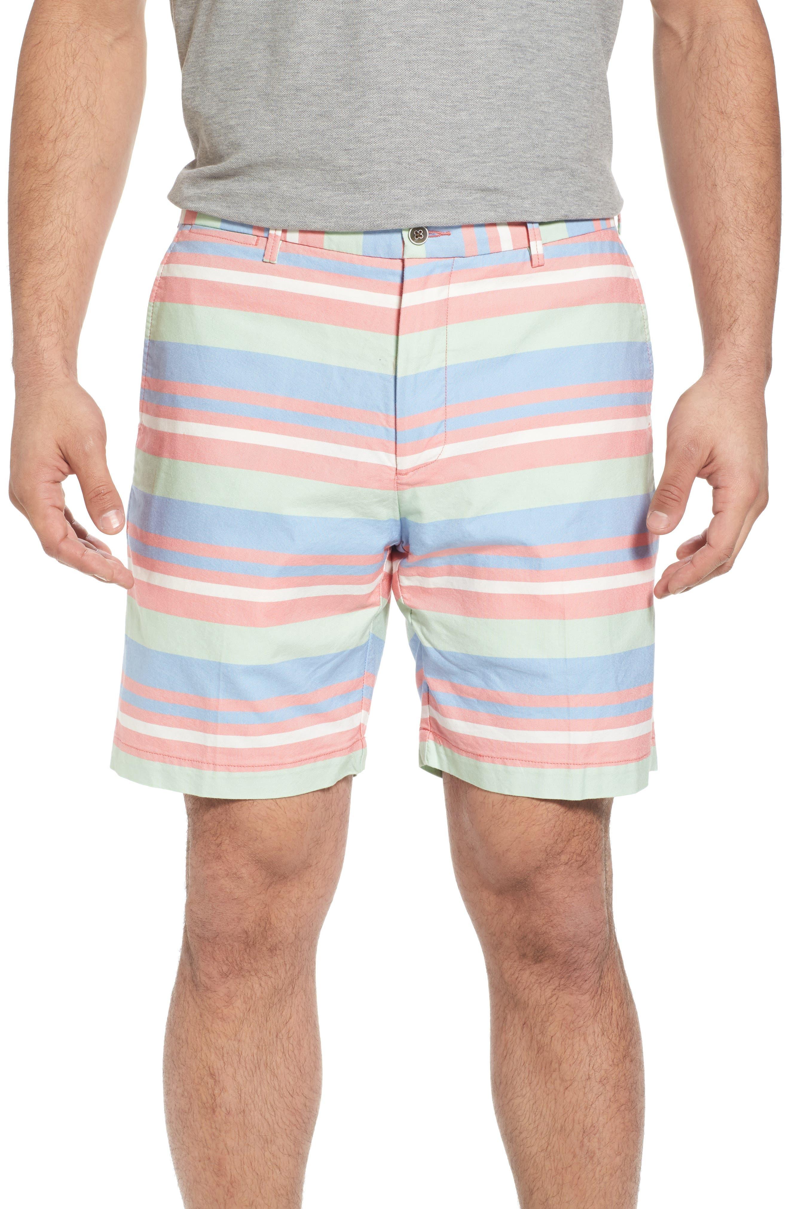 Stripe Flat Front Shorts,                             Main thumbnail 1, color,                             Tahoe Blue
