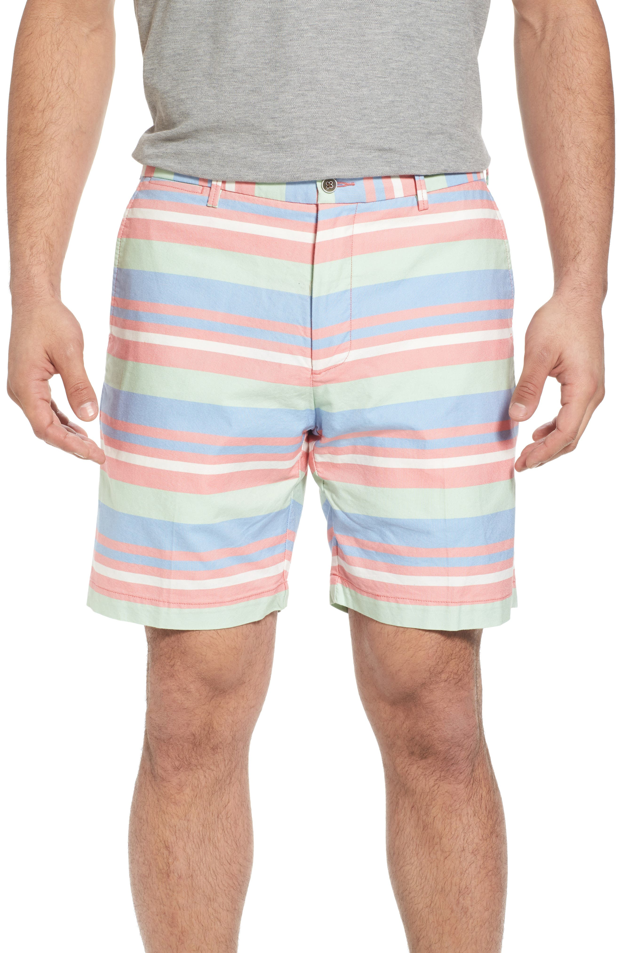 Stripe Flat Front Shorts,                         Main,                         color, Tahoe Blue