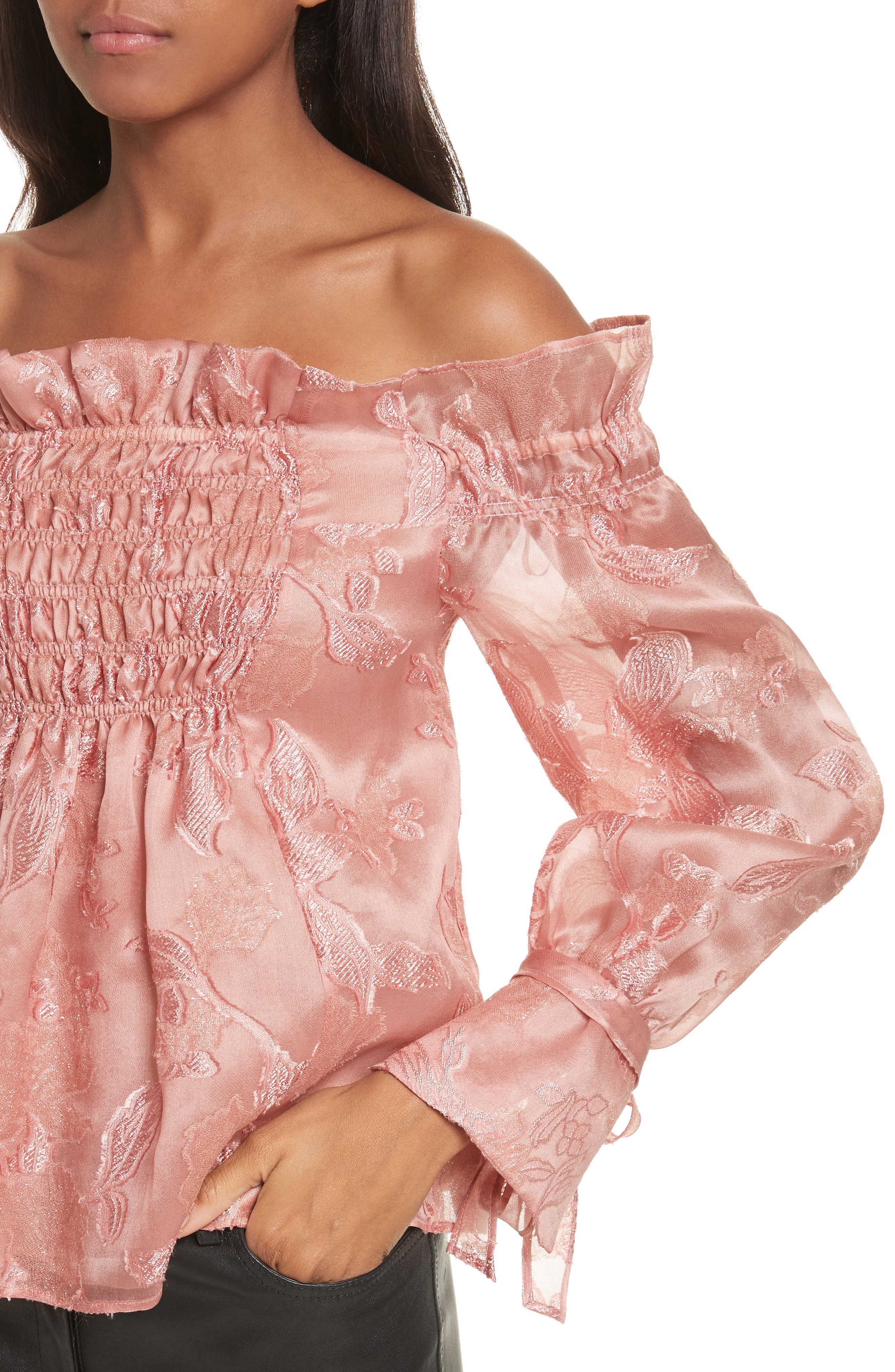 Alternate Image 4  - Rebecca Taylor Off the Shouler Metallic Floral Organza Blouse