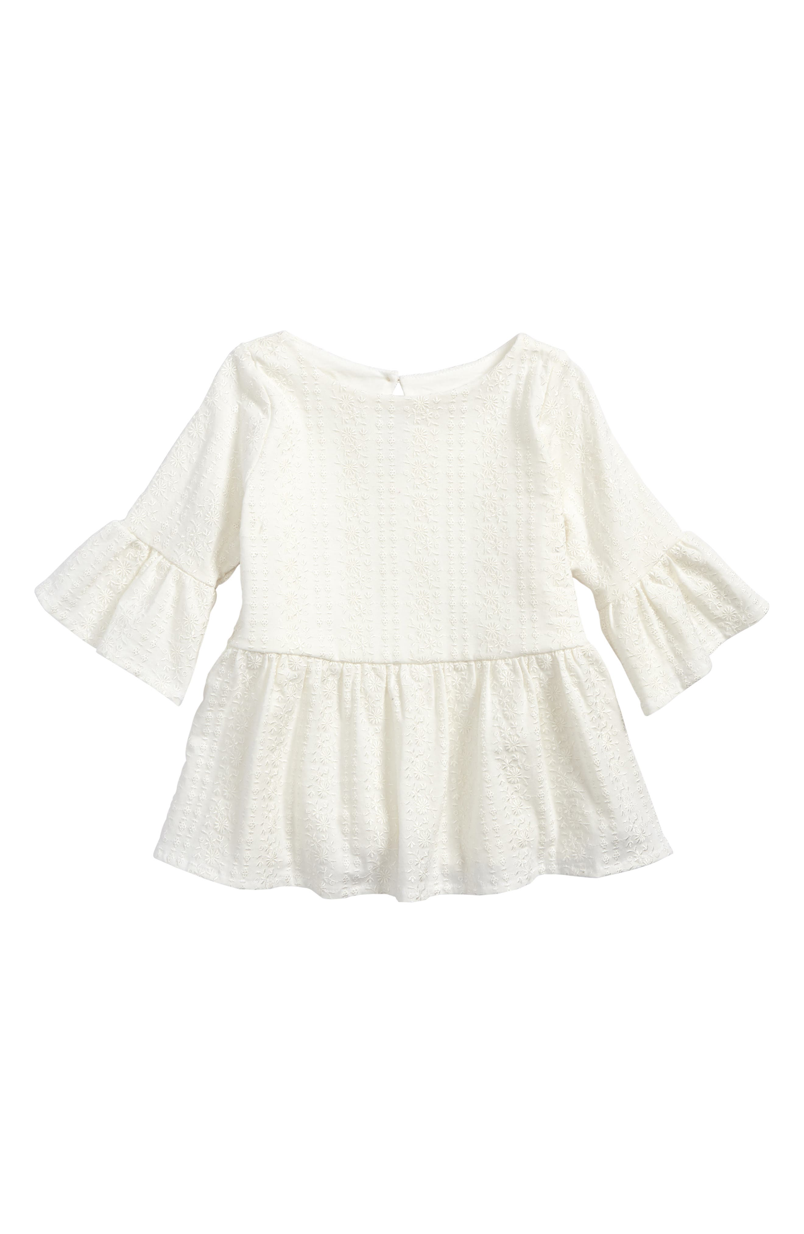 Embroidered Jersey Blouse,                         Main,                         color, Ivory
