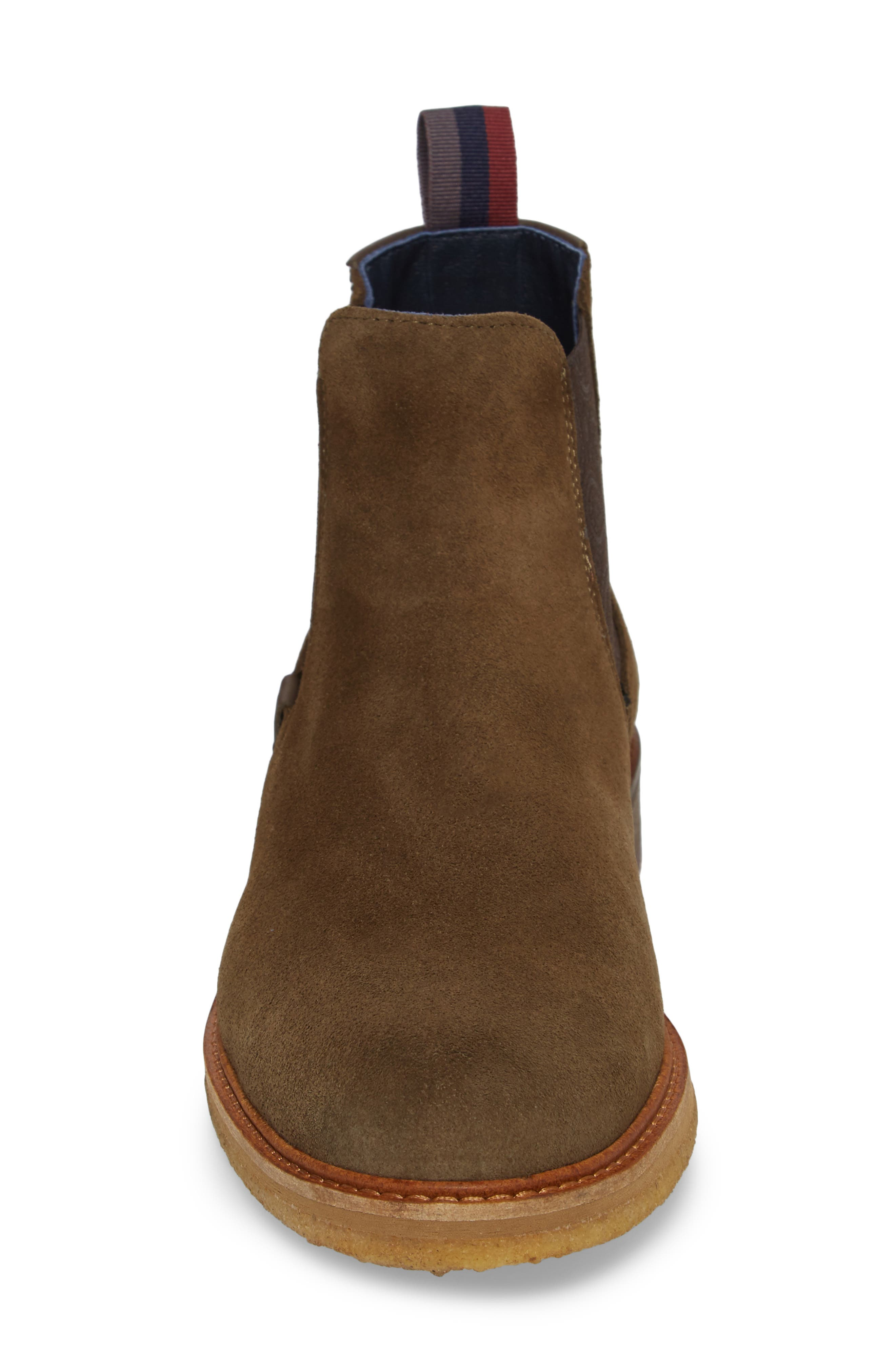 Bronzo Chelsea Boot,                             Alternate thumbnail 5, color,                             Dark Green Suede