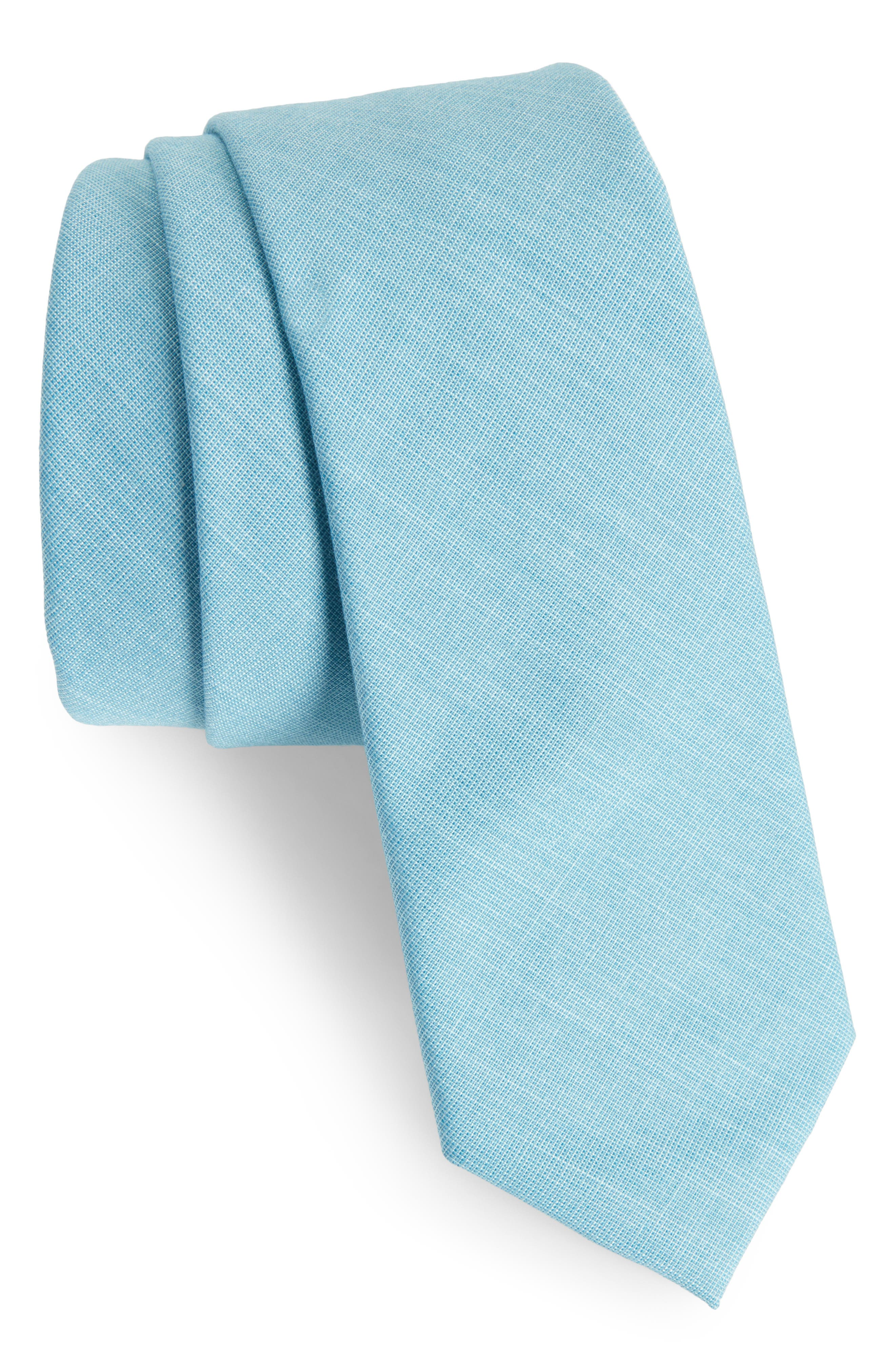 Jeffry Solid Skinny Tie,                         Main,                         color, Aqua