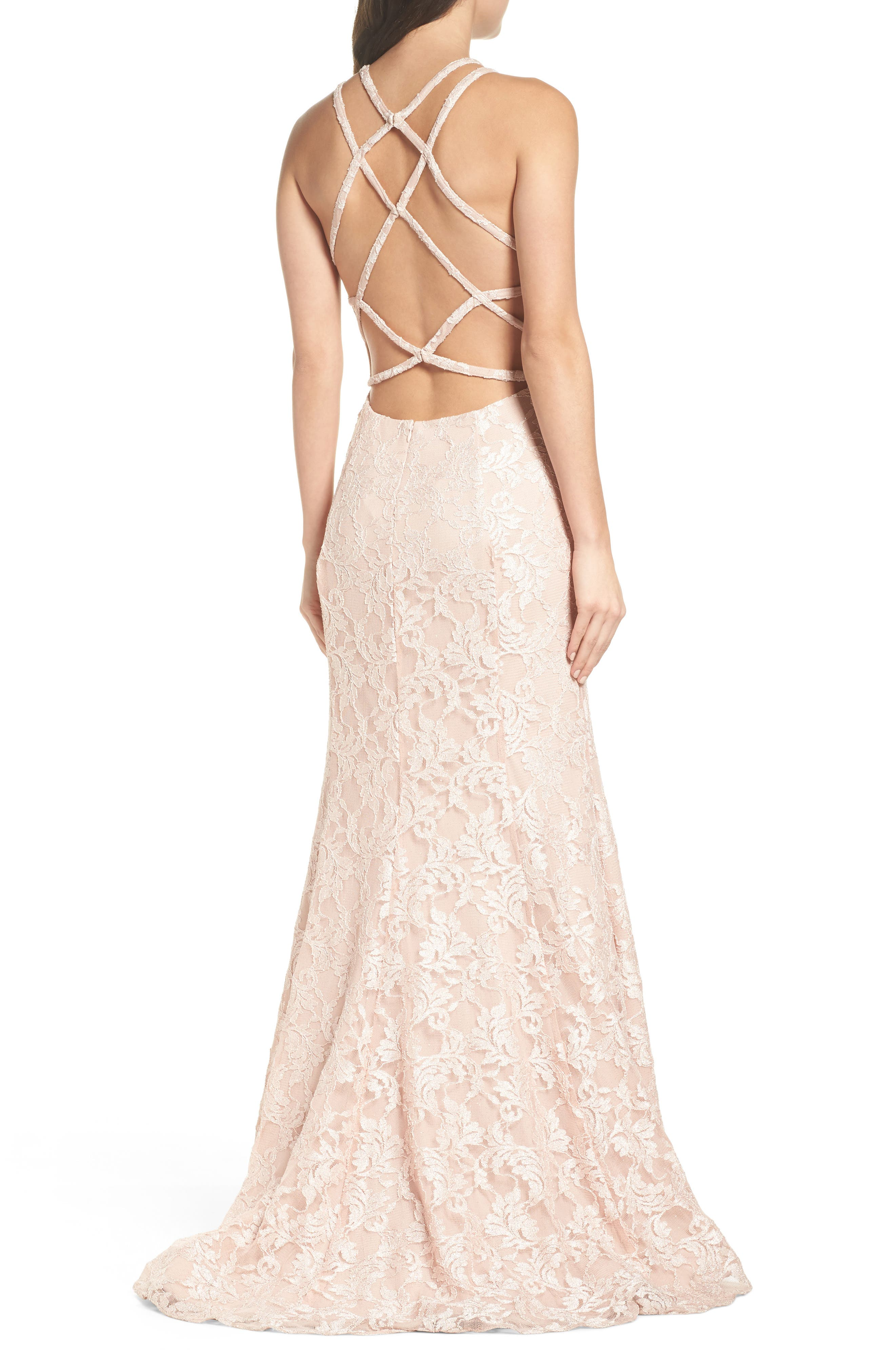 Strappy Lace Mermaid Gown,                             Alternate thumbnail 2, color,                             Blush / Nude