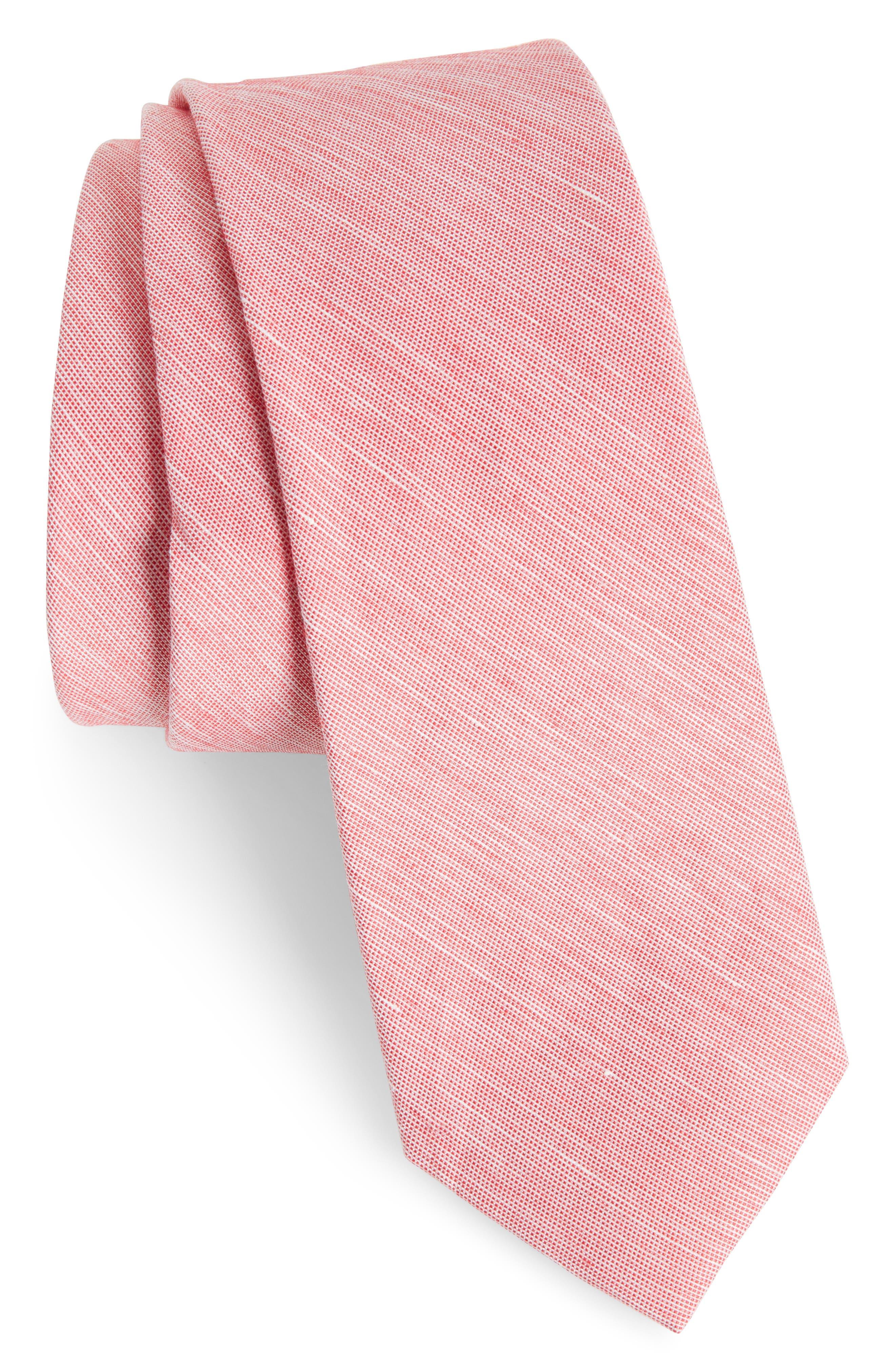 Adena Solid Silk Blend Skinny Tie,                         Main,                         color, Red