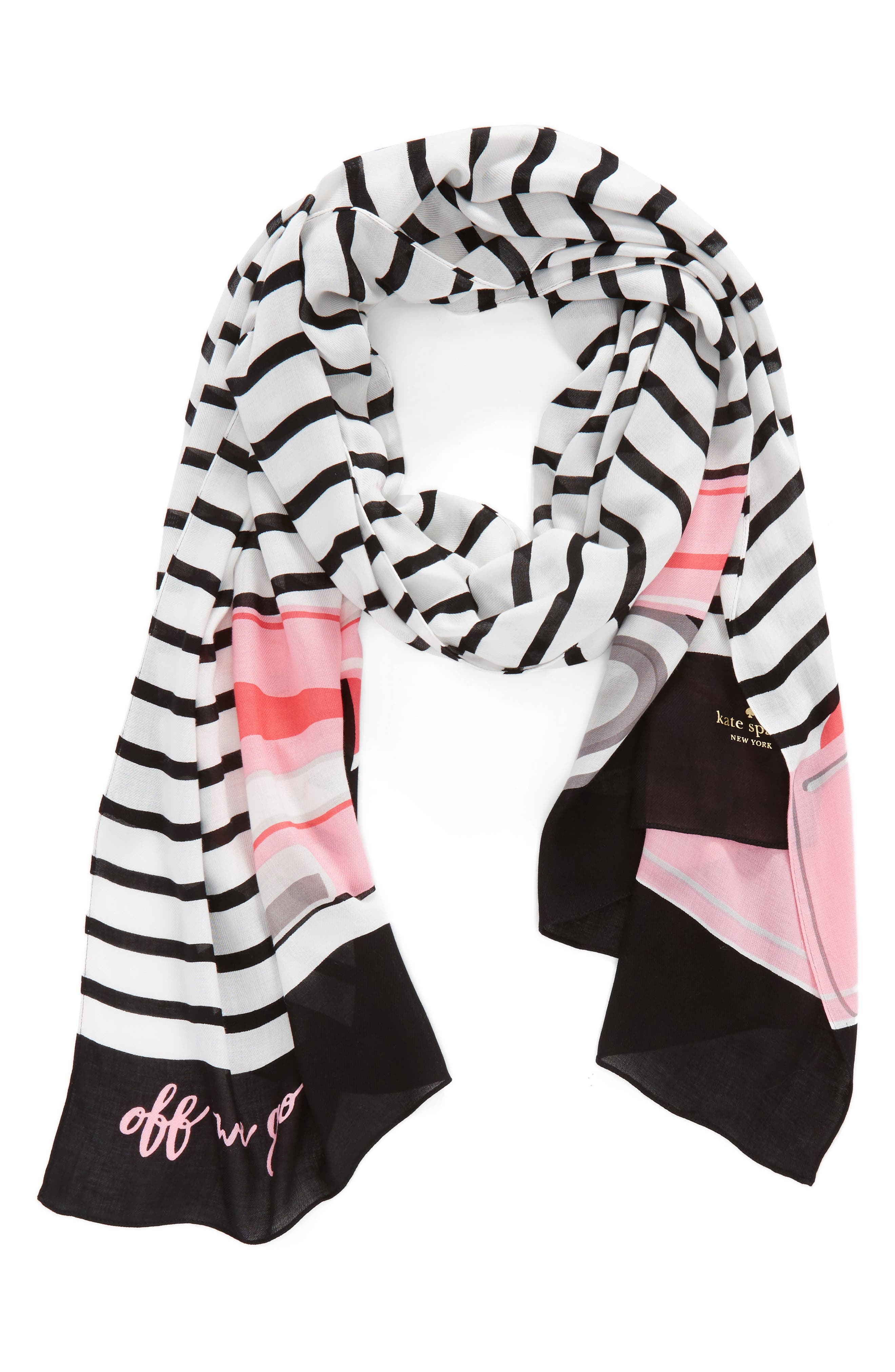 off we go oblong twill scarf,                             Alternate thumbnail 4, color,                             Black