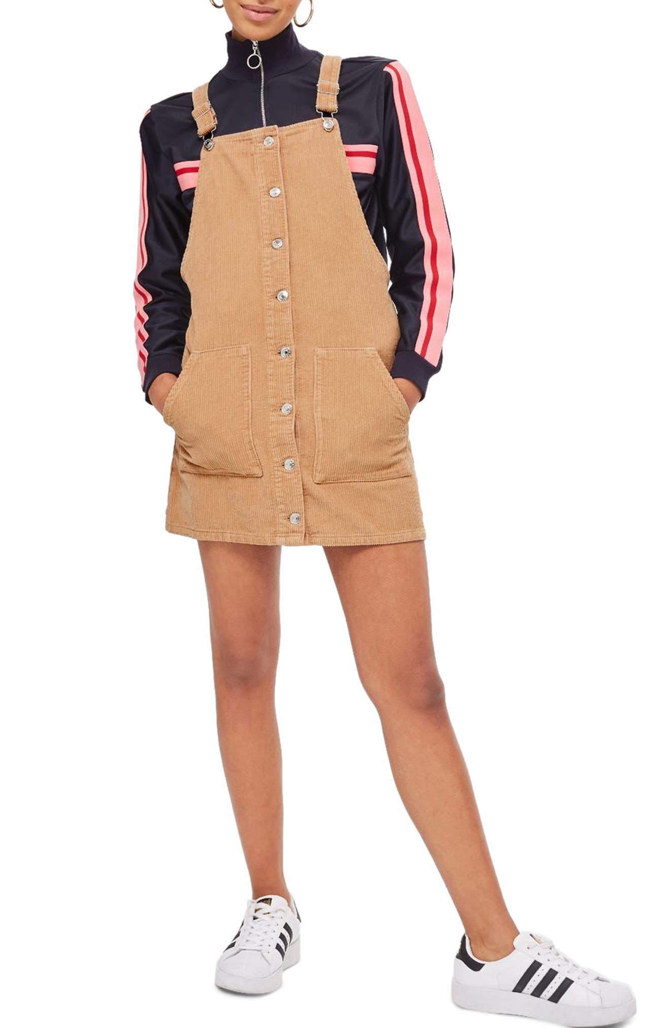 Main Image - Topshop Button Front Corduroy Pinafore Dress