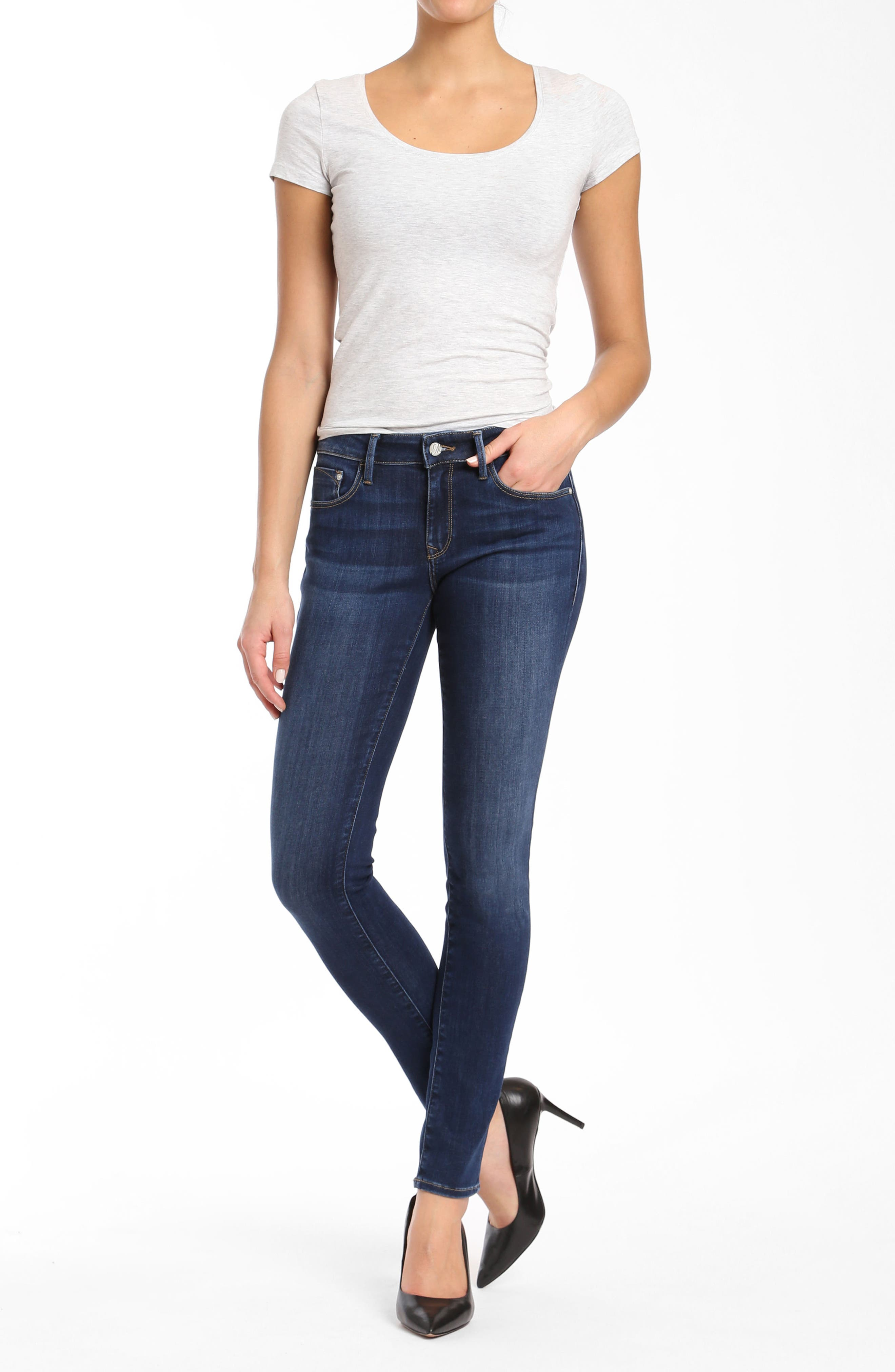 Alexa Supersoft Skinny Jeans,                             Alternate thumbnail 5, color,                             Dark Super Soft