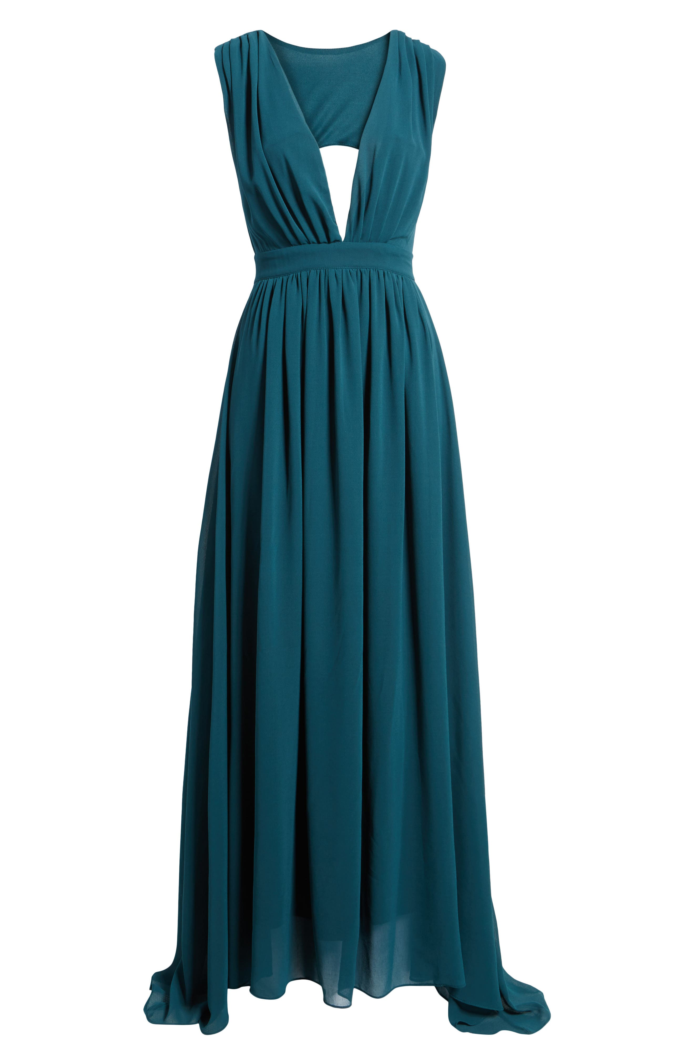 Bishop + Young Plunging Maxi Dress,                             Alternate thumbnail 5, color,                             Jade