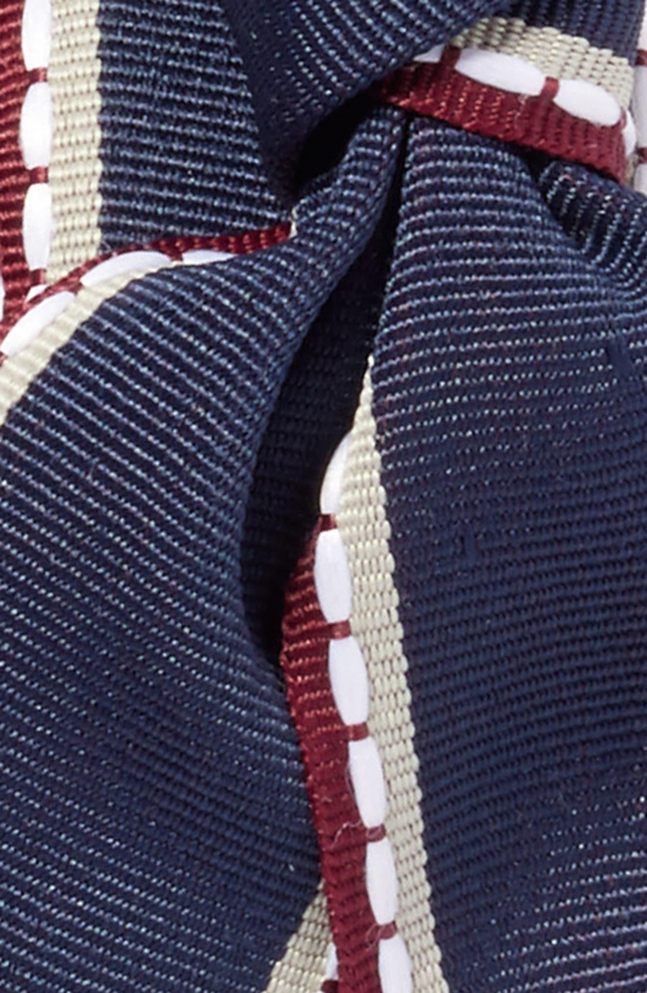 Big Bow Stripe Headband,                             Alternate thumbnail 2, color,                             Navy/ White