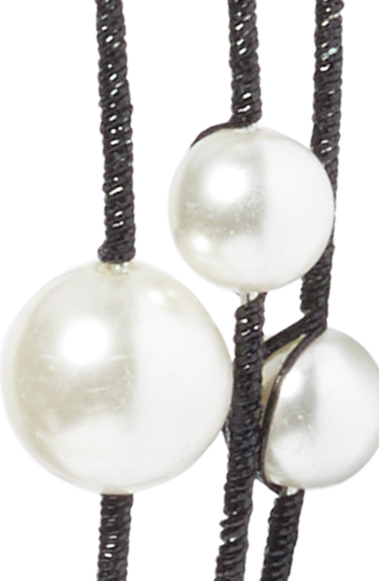 Imitation Pearl Headband,                             Alternate thumbnail 2, color,                             Black