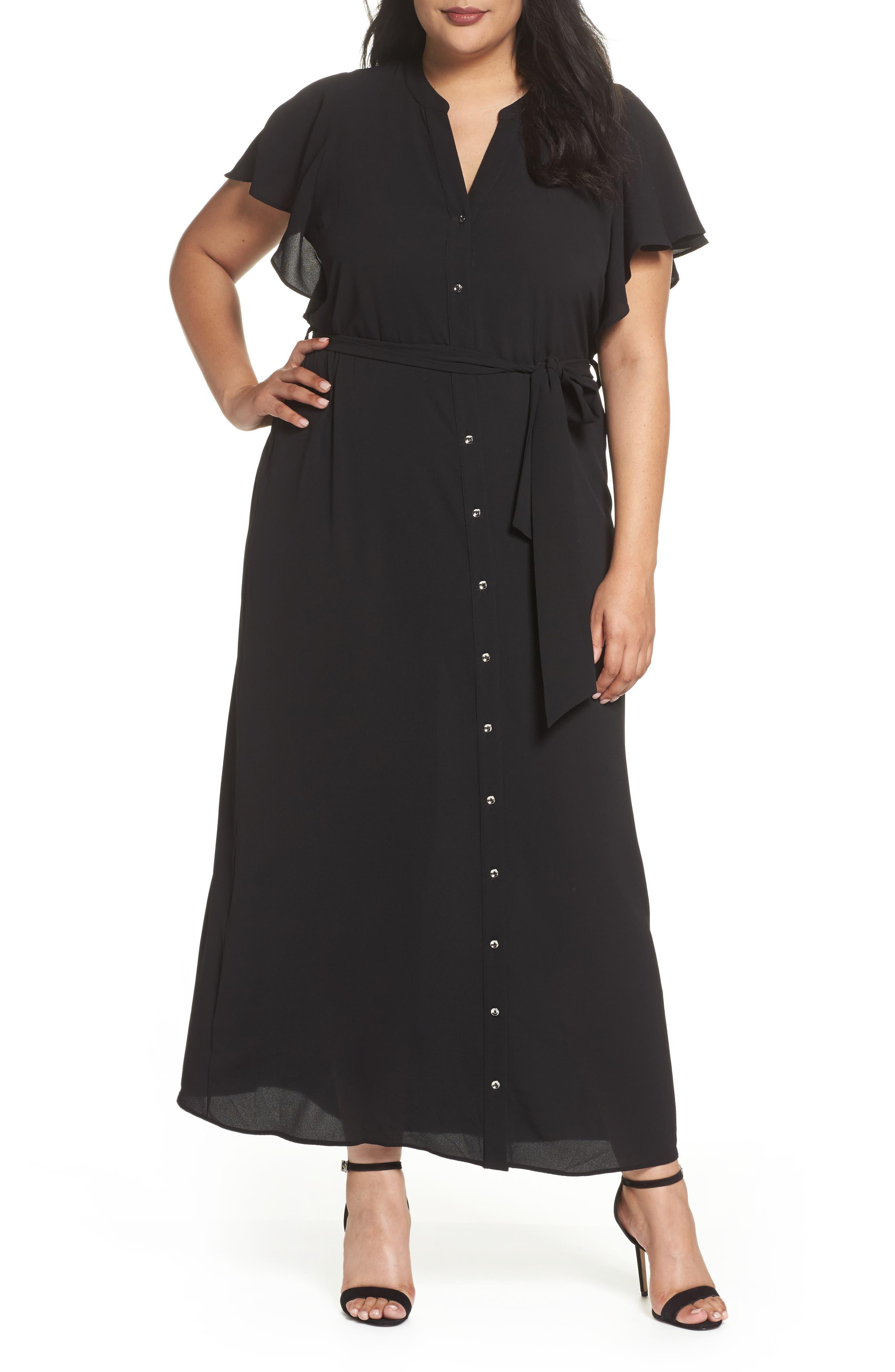 Alternate Image 1 Selected - Evans Ruffled Maxi Shirtdress (Plus Size)