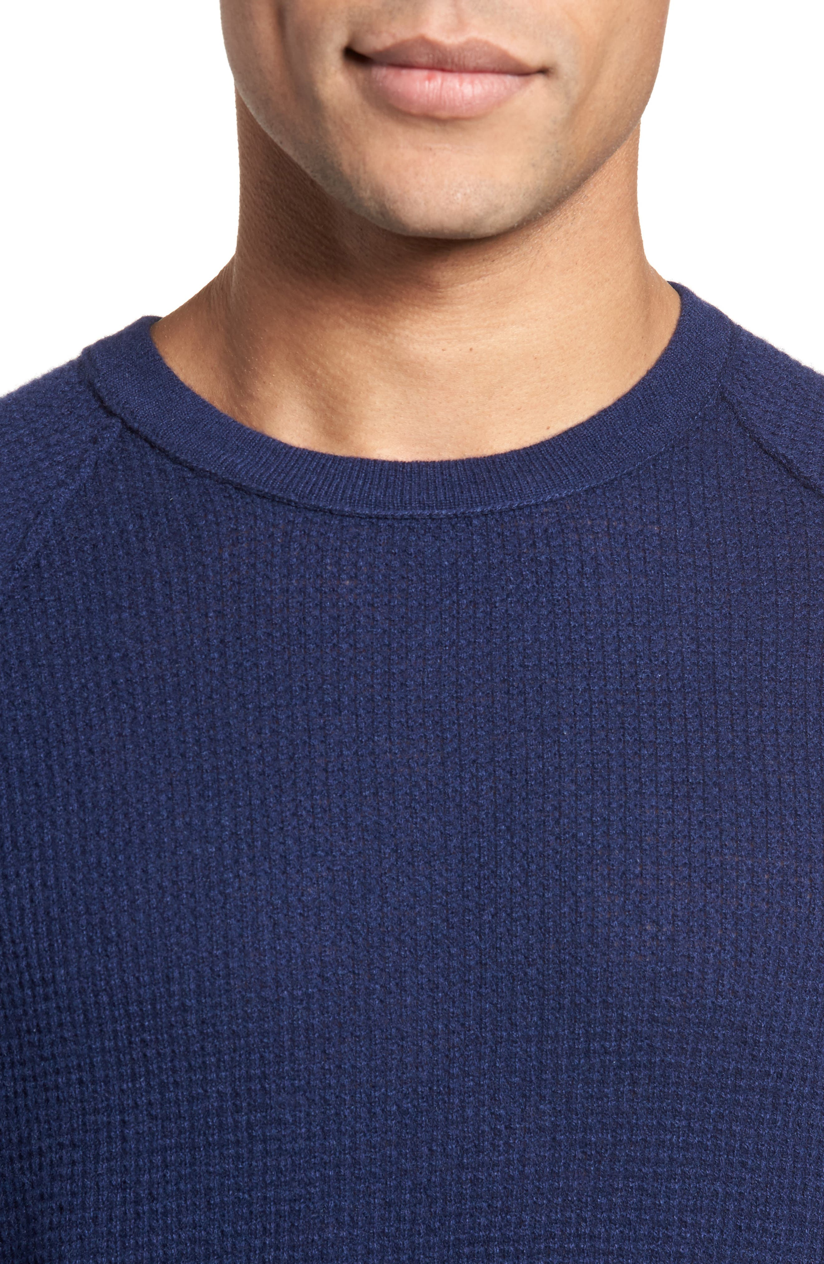 Thermal Cashmere Sweater,                             Alternate thumbnail 4, color,                             Blue