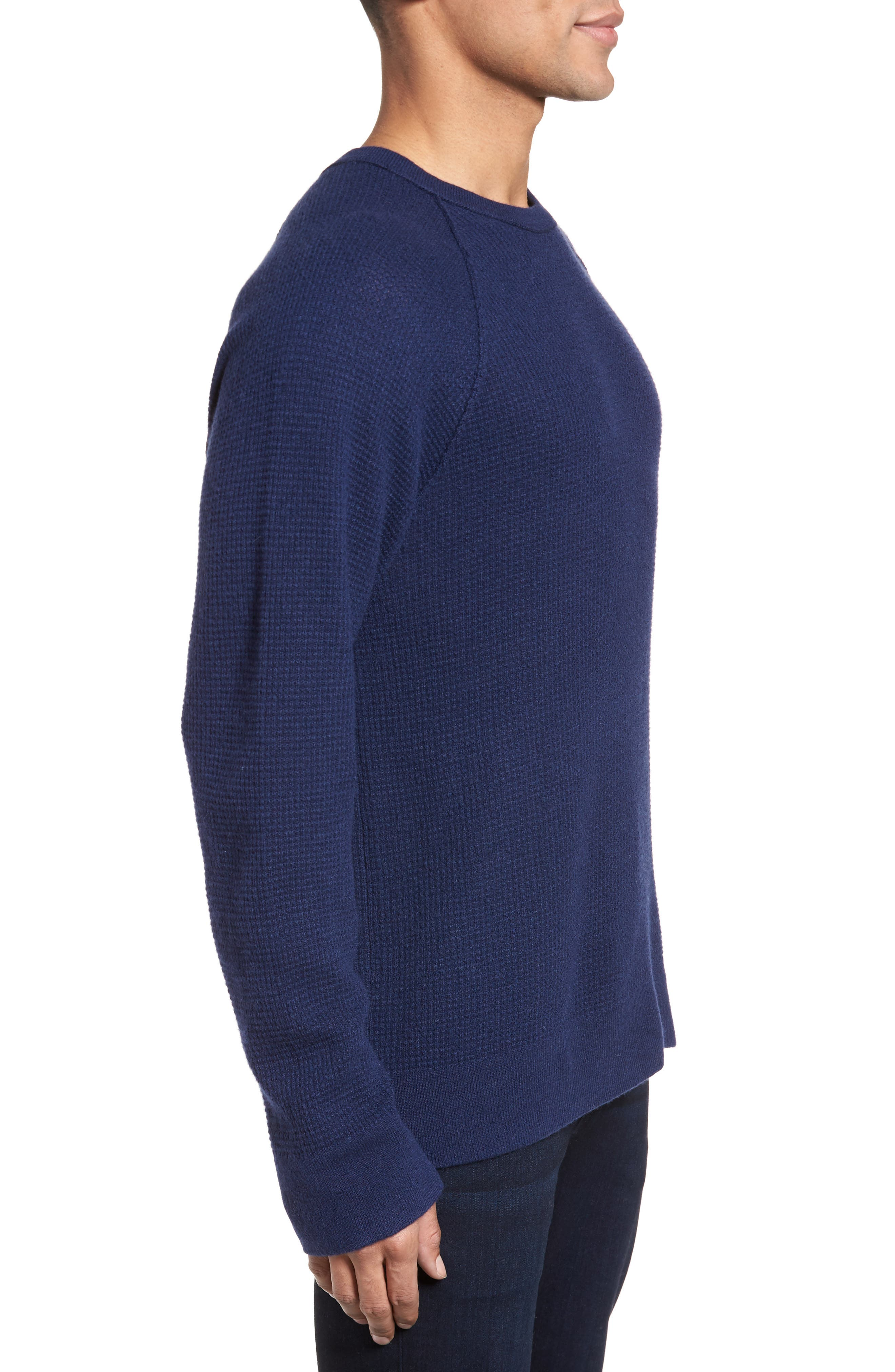 Thermal Cashmere Sweater,                             Alternate thumbnail 3, color,                             Blue