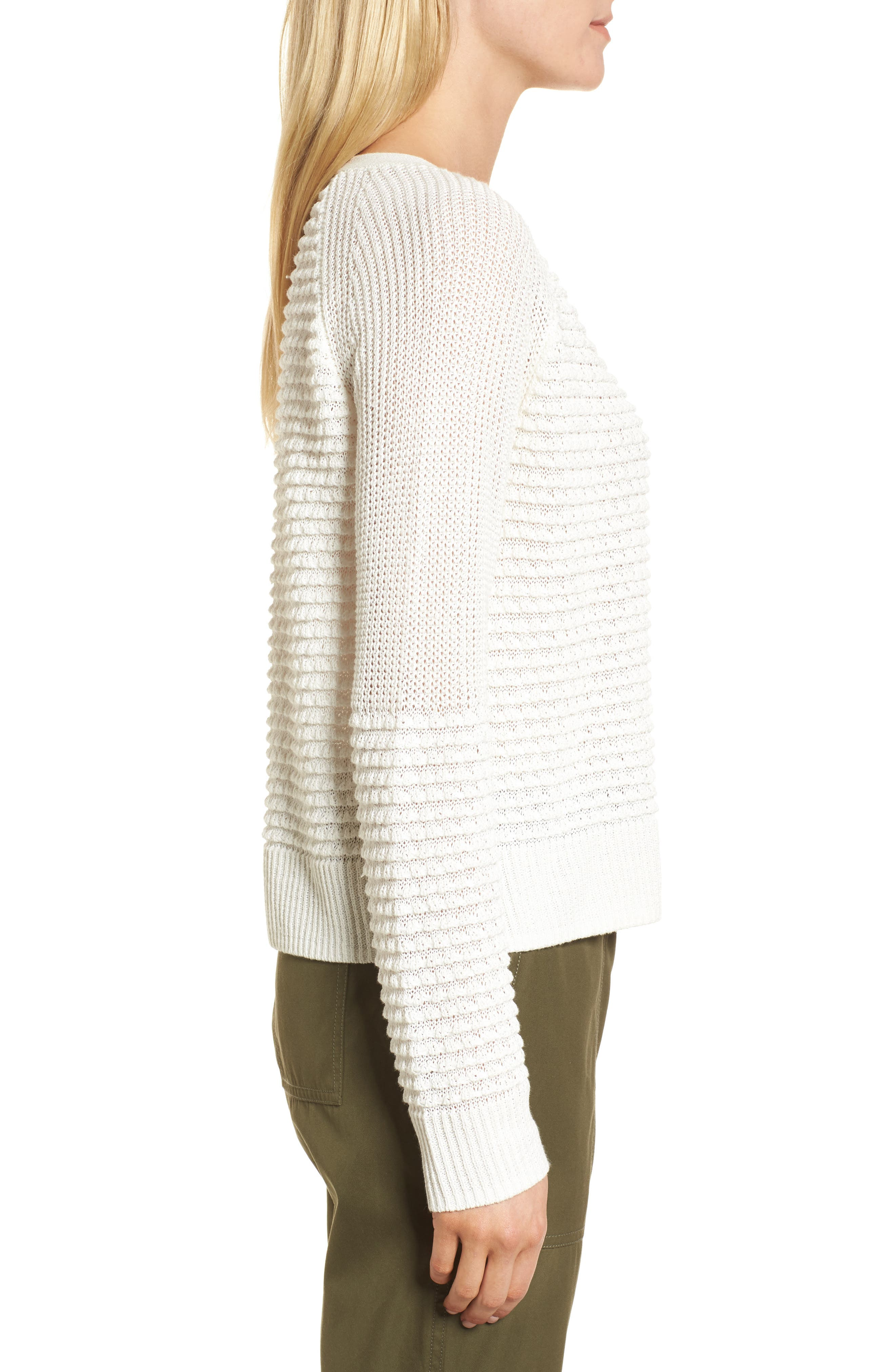 Mixed Stitch Sweater,                             Alternate thumbnail 3, color,                             Ivory Cloud