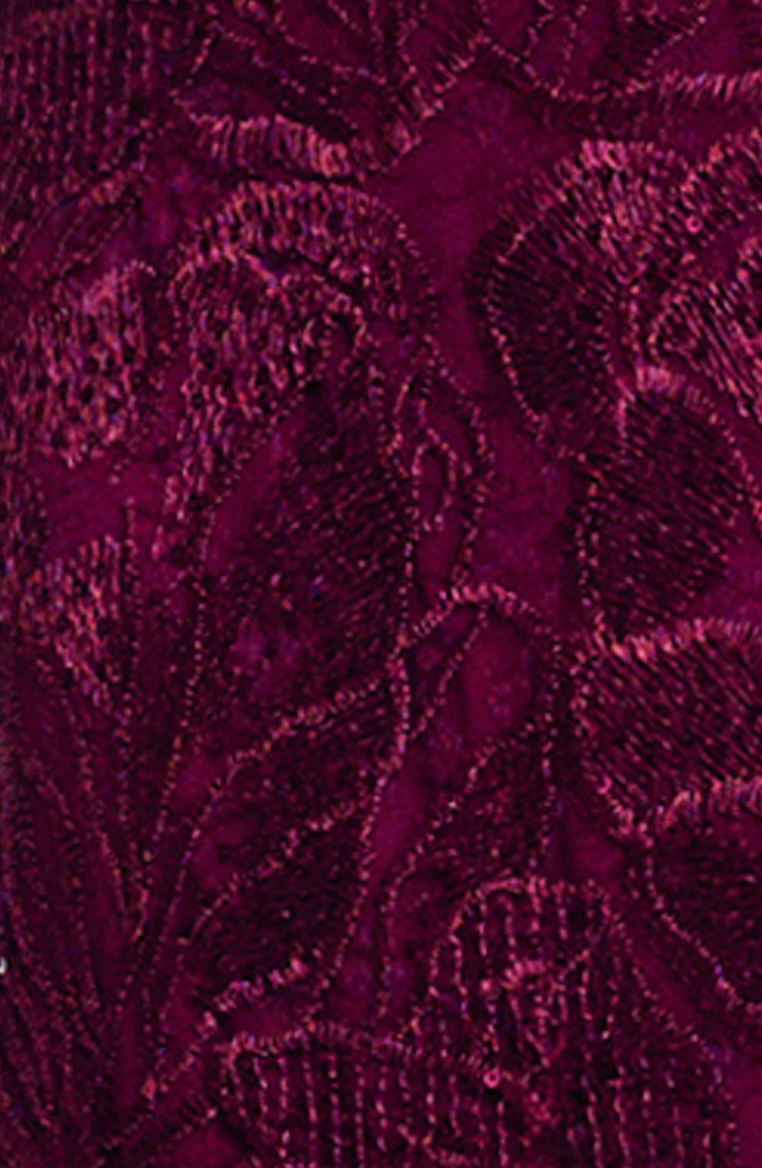 Tie Waist Sequin Lace Gown,                             Alternate thumbnail 5, color,                             Cabernet