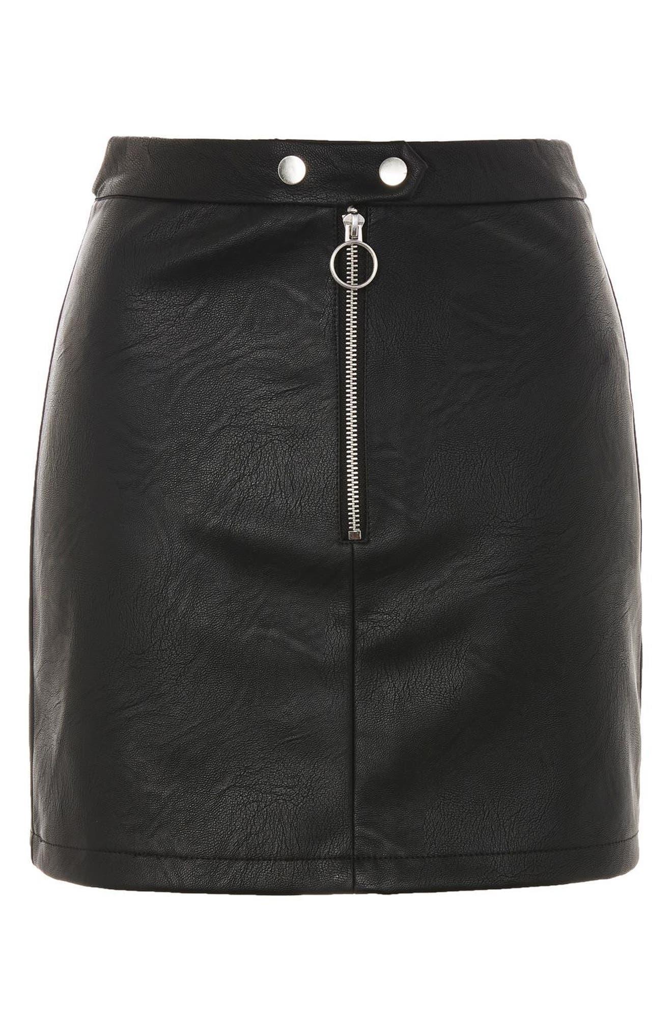 Zip Front Faux Leather Miniskirt,                             Alternate thumbnail 3, color,                             Black