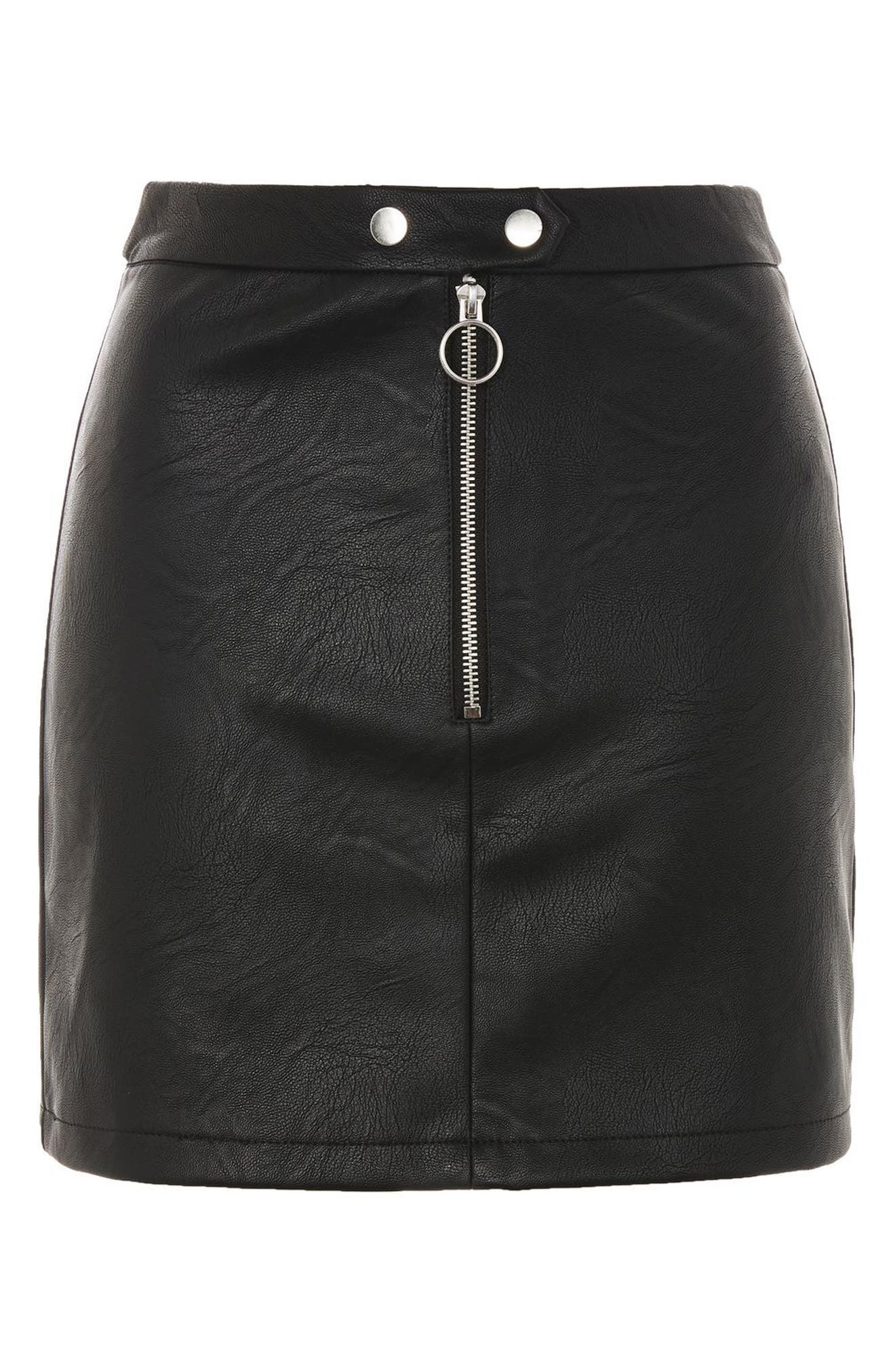 Alternate Image 3  - Topshop Zip Front Faux Leather Miniskirt