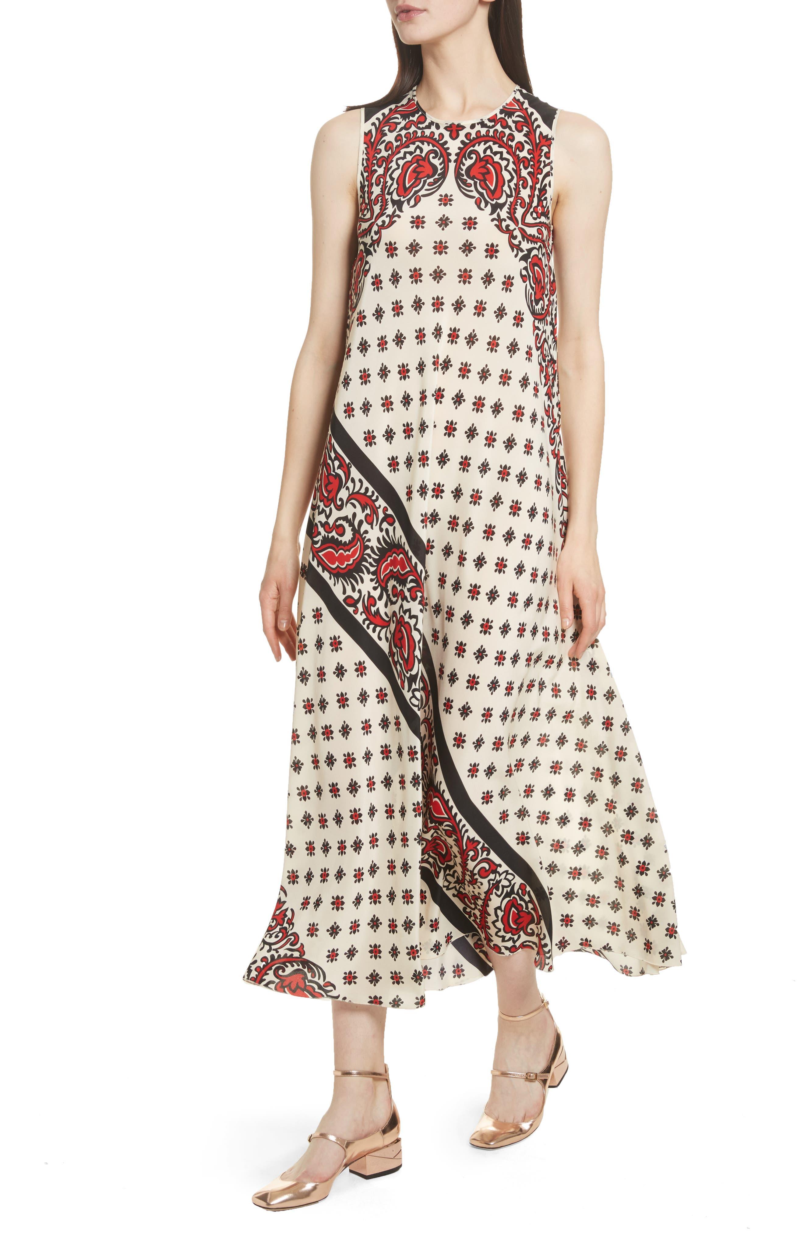 Print Silk Midi Dress,                             Alternate thumbnail 4, color,                             Cherry