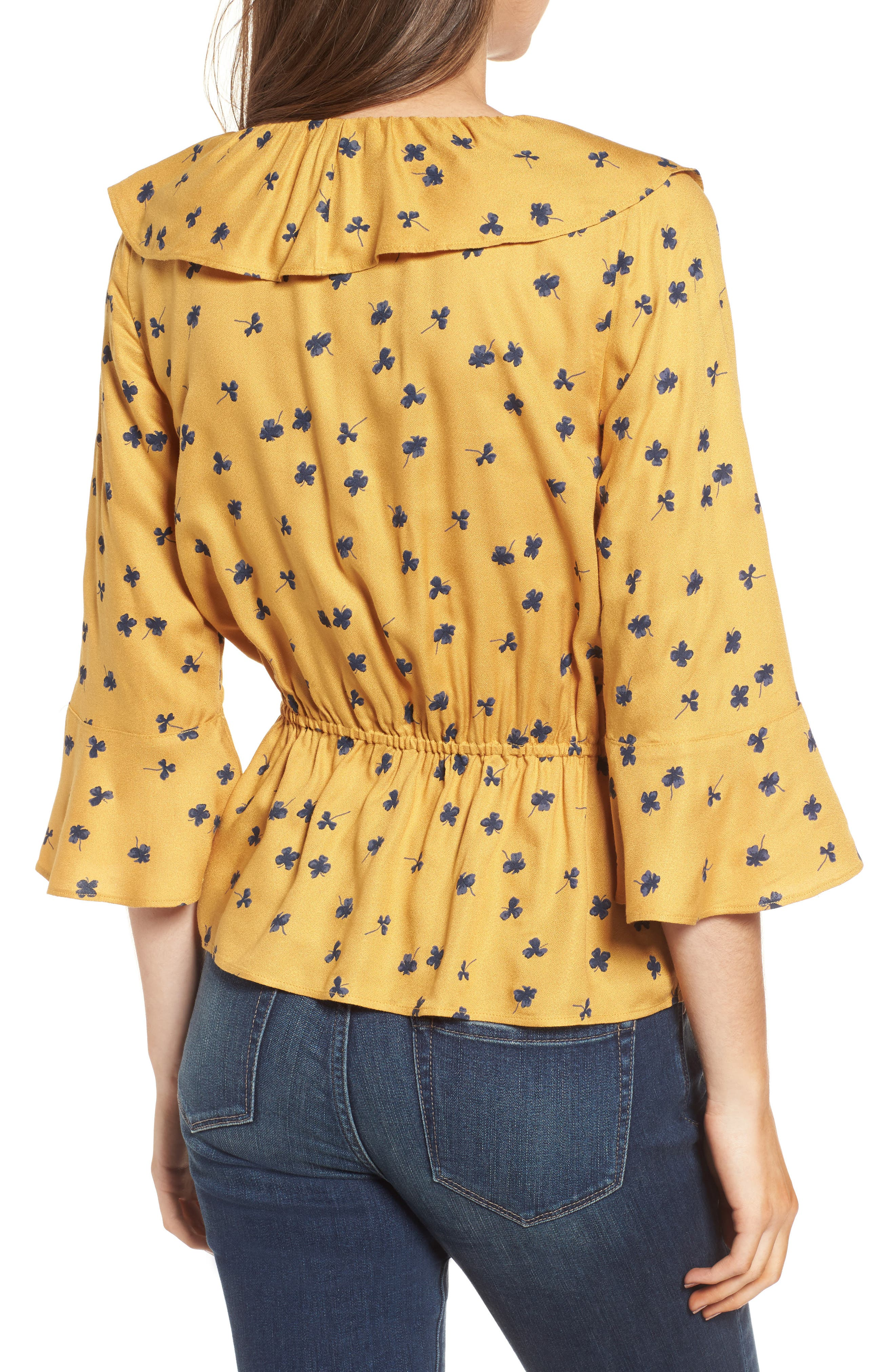 Print Cascade Ruffle Top,                             Alternate thumbnail 2, color,                             Yellow Mineral Lucky Clover
