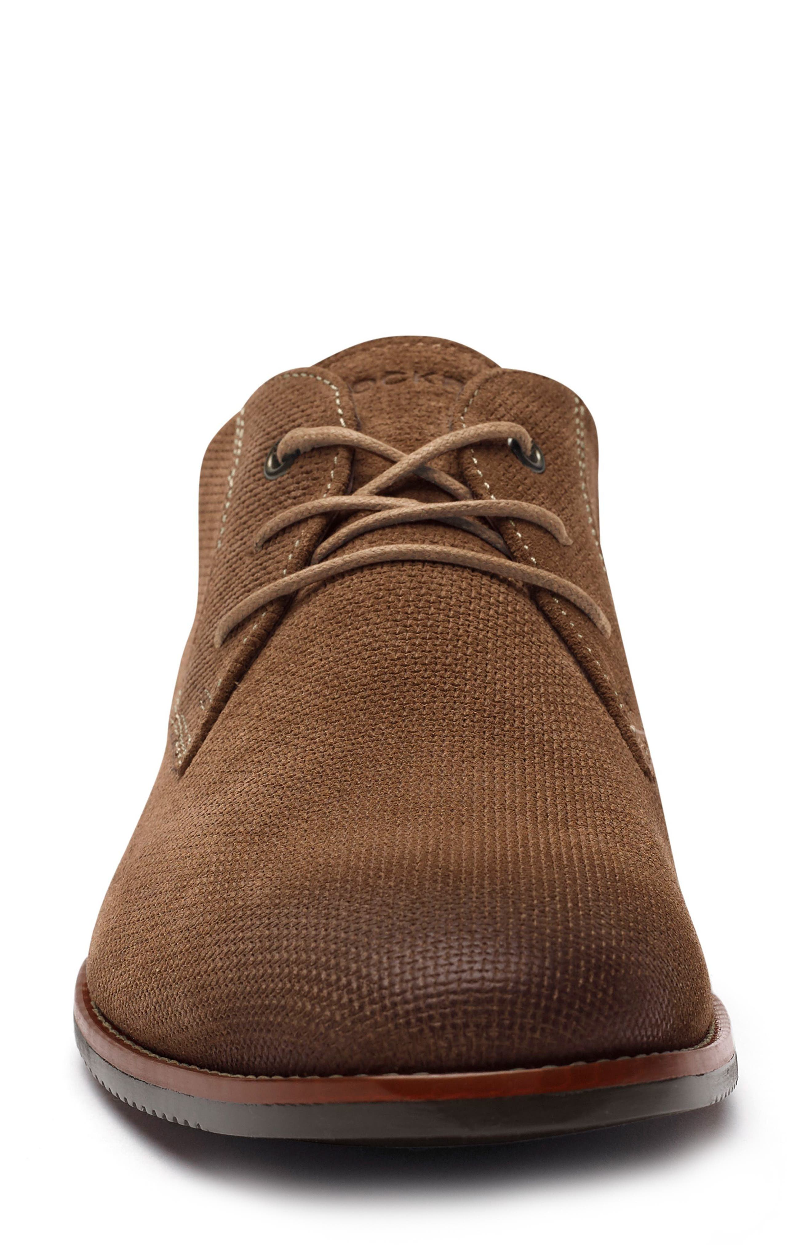Style Purpose Plain Toe Derby,                             Alternate thumbnail 4, color,                             New Brown Suede
