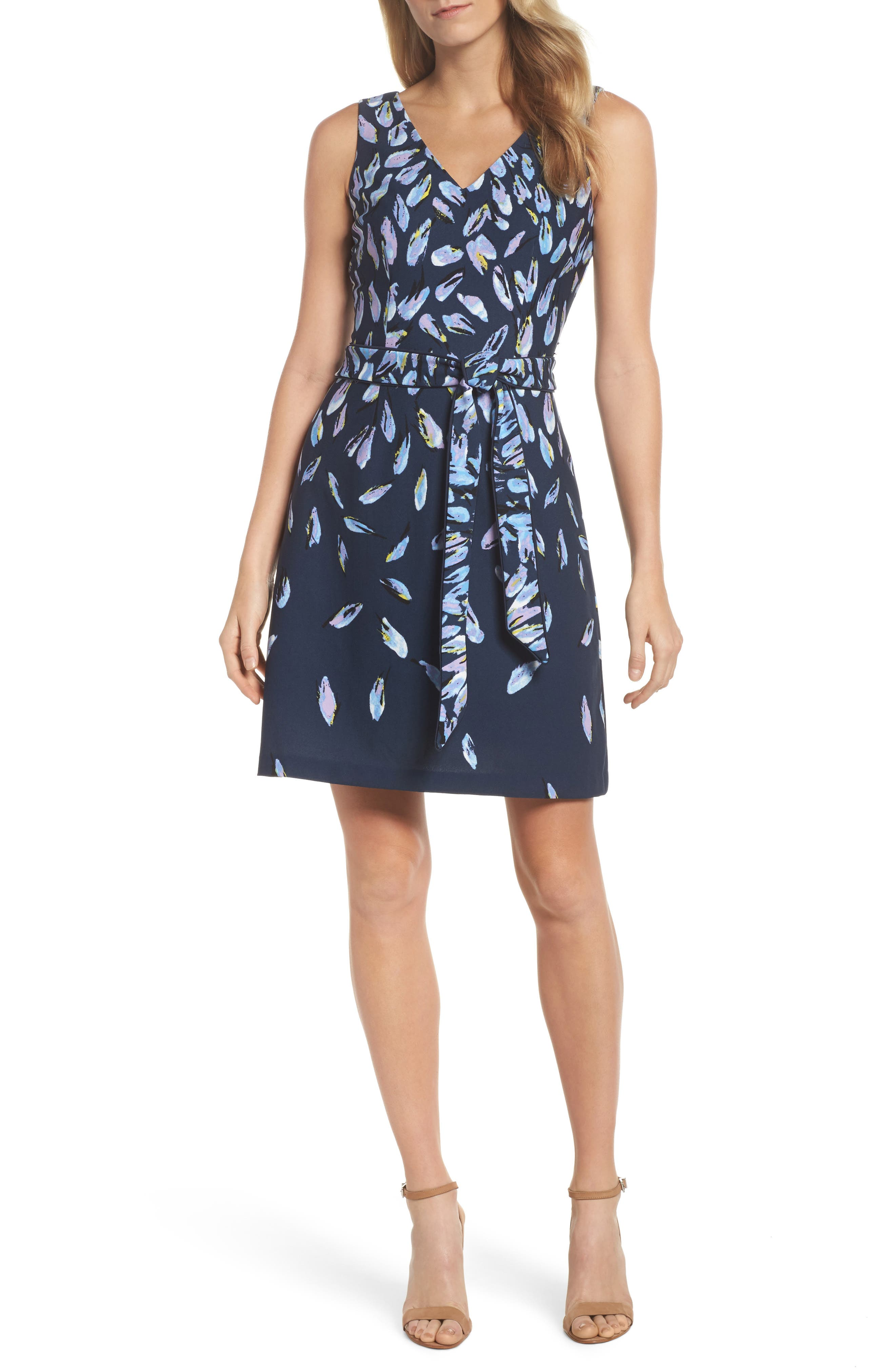 Print Fit & Flare Dress,                         Main,                         color, Navy Multi