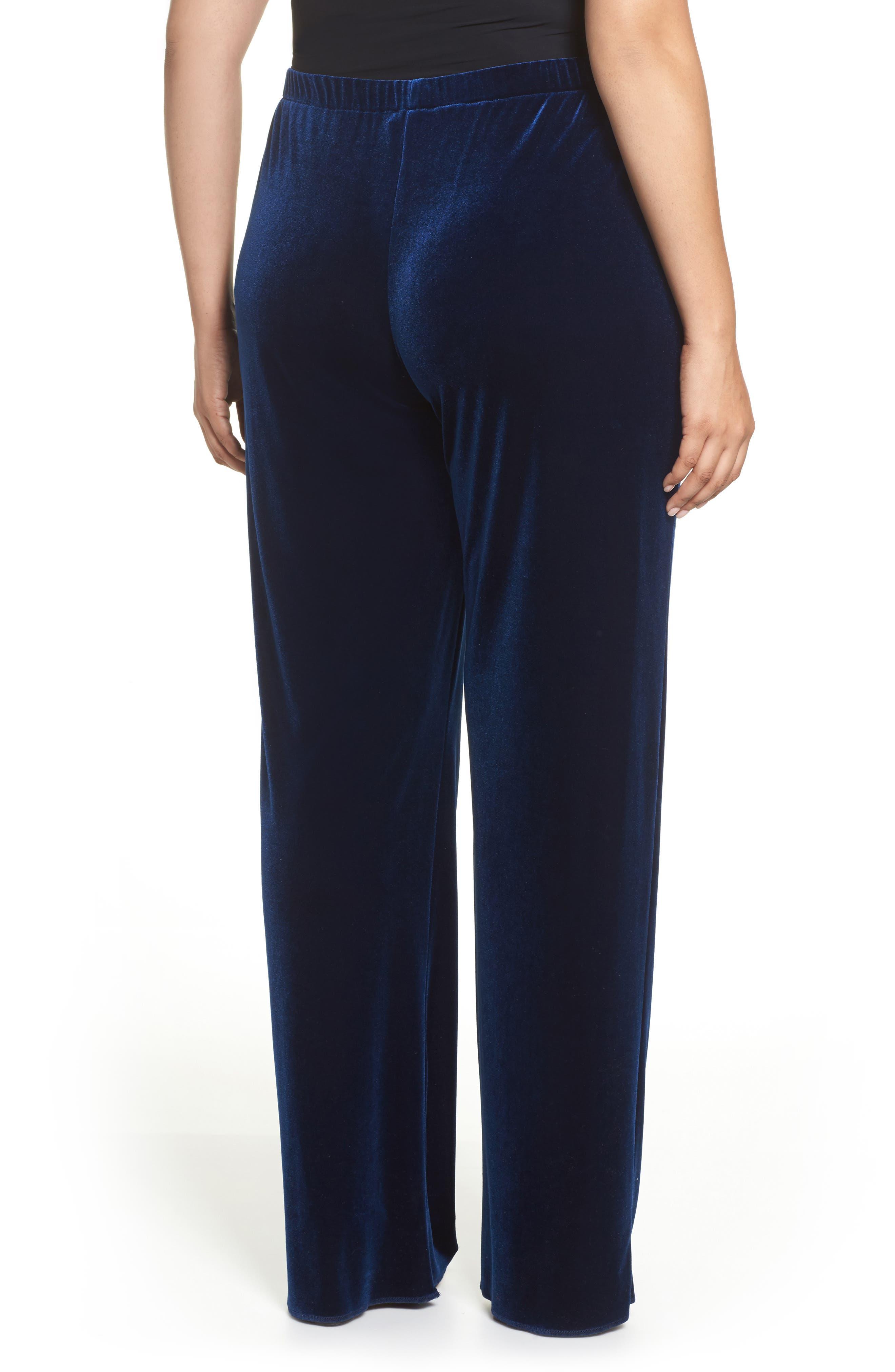 Rosita Velour Pants,                             Alternate thumbnail 2, color,                             Dark Navy