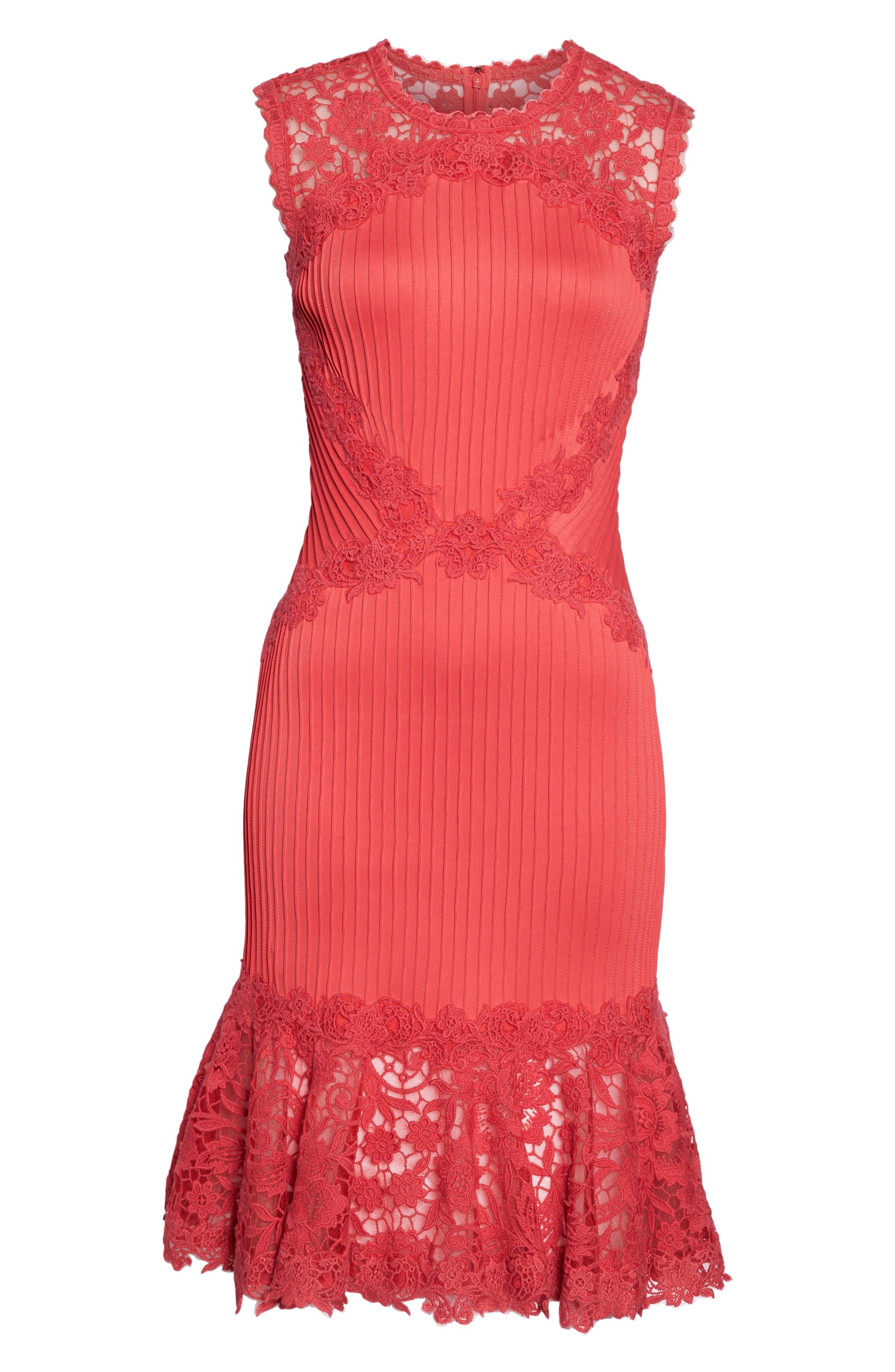 Crochet Trim Pintucked Sheath Dress,                             Alternate thumbnail 6, color,                             Pop Red