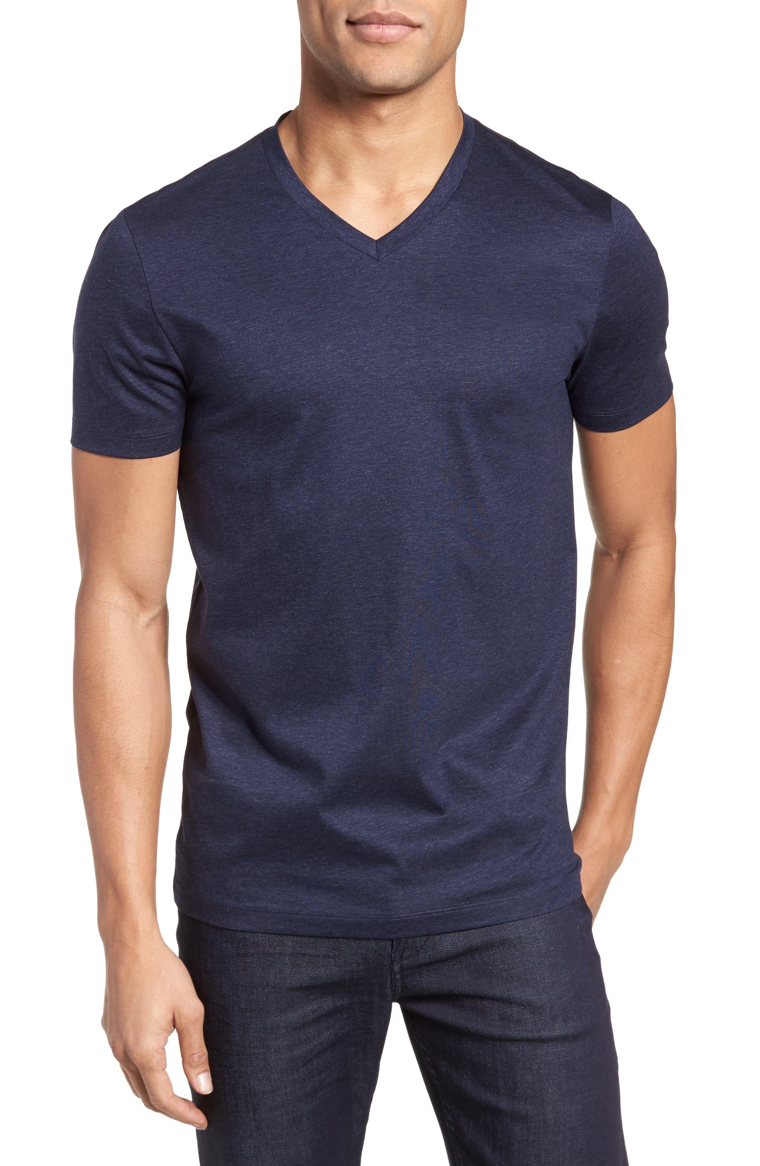 Teal Slim Fit V-Neck T-Shirt,                         Main,                         color, Blue