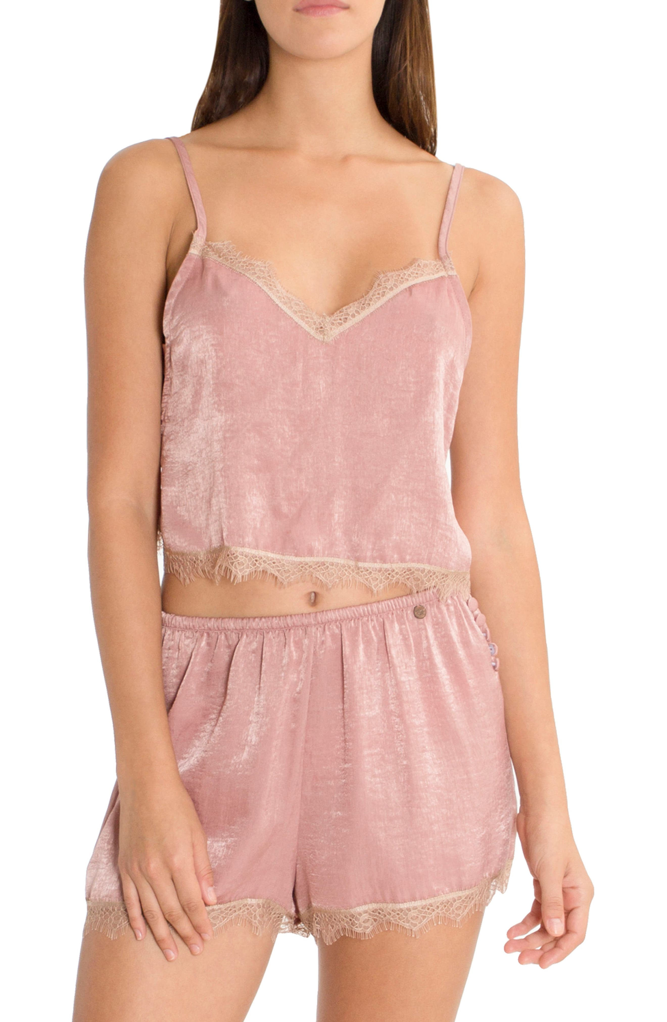 Alternate Image 1 Selected - Midnight Bakery Crop Satin Camisole