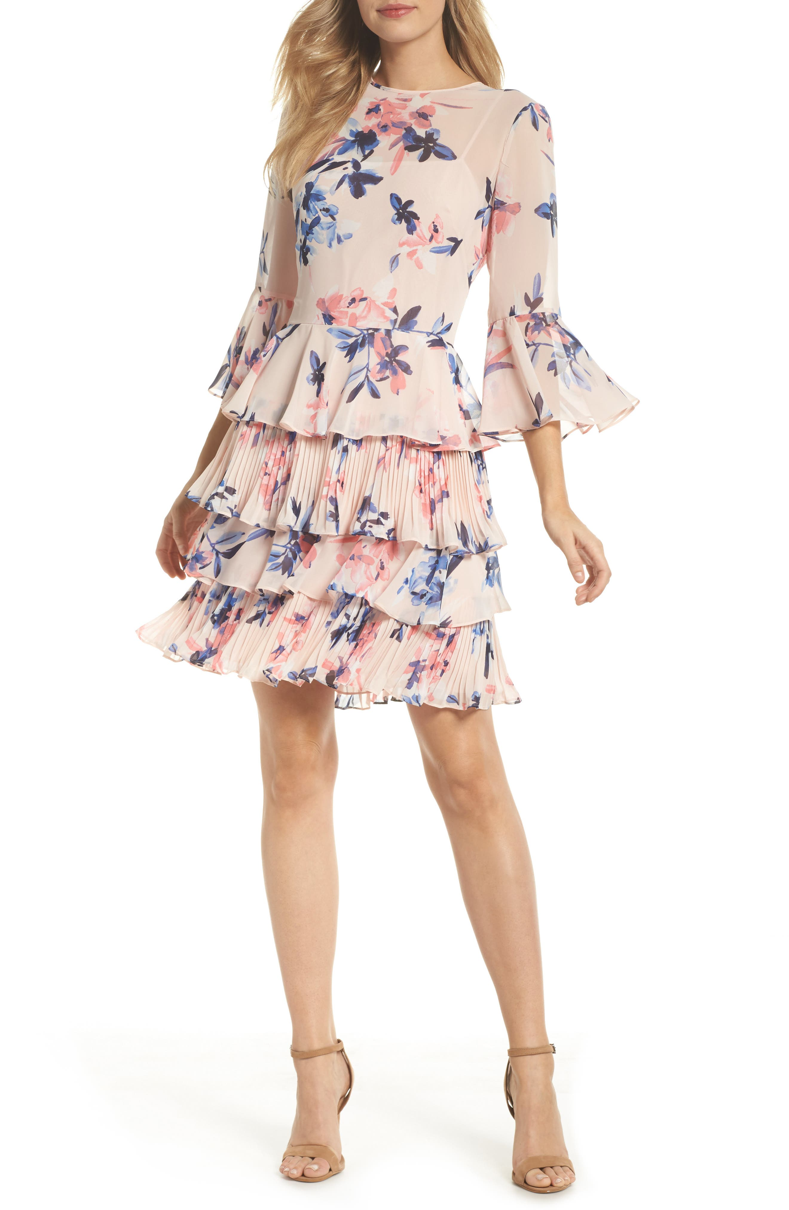 Bell Sleeve Tiered Dress,                             Main thumbnail 1, color,                             Blush