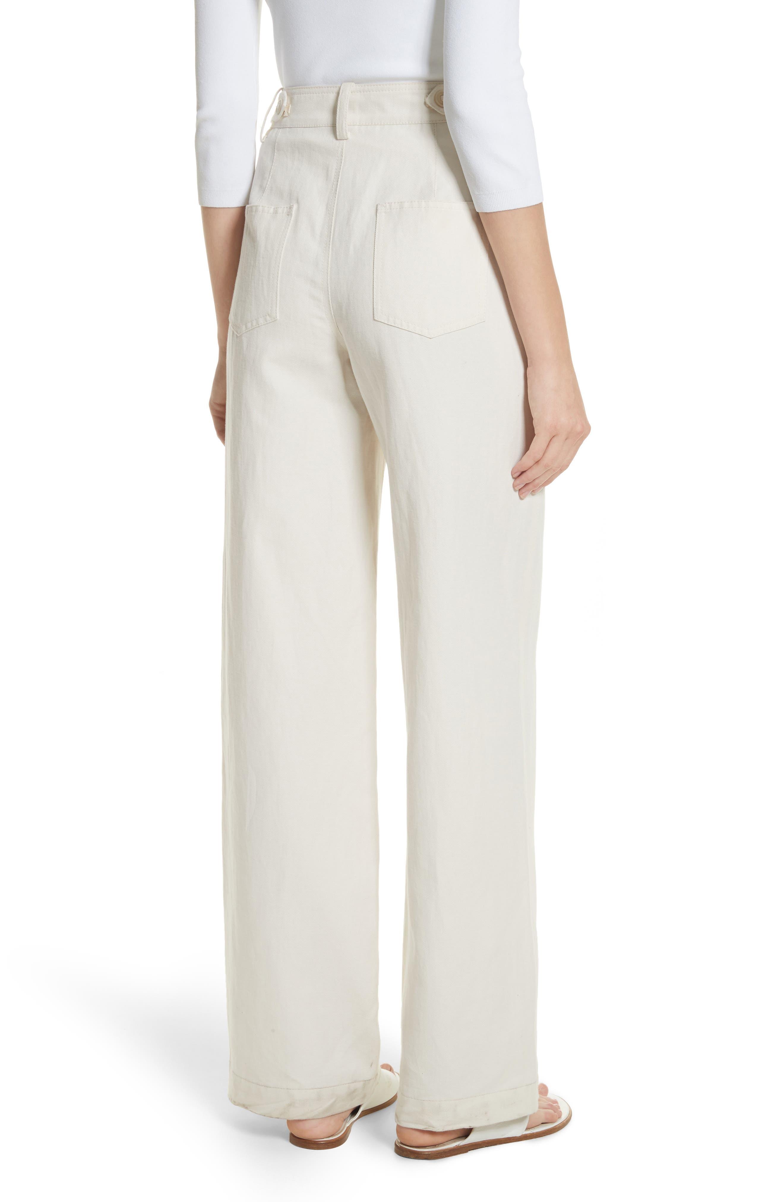 High Rise Linen Blend Wide Leg Pants,                             Alternate thumbnail 3, color,                             Gardenia