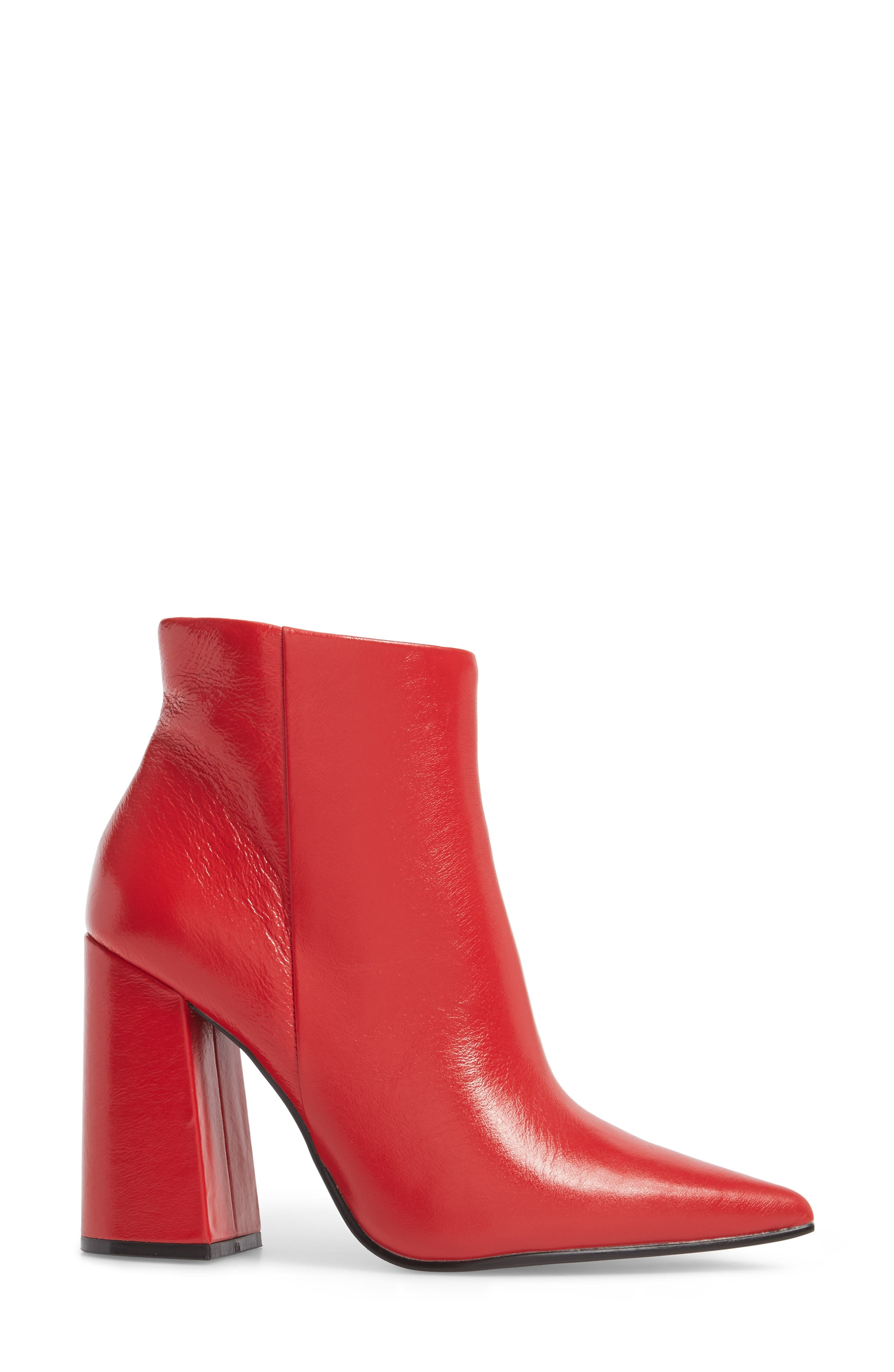 Justify Flared Heel Bootie,                             Alternate thumbnail 3, color,                             Red Leather