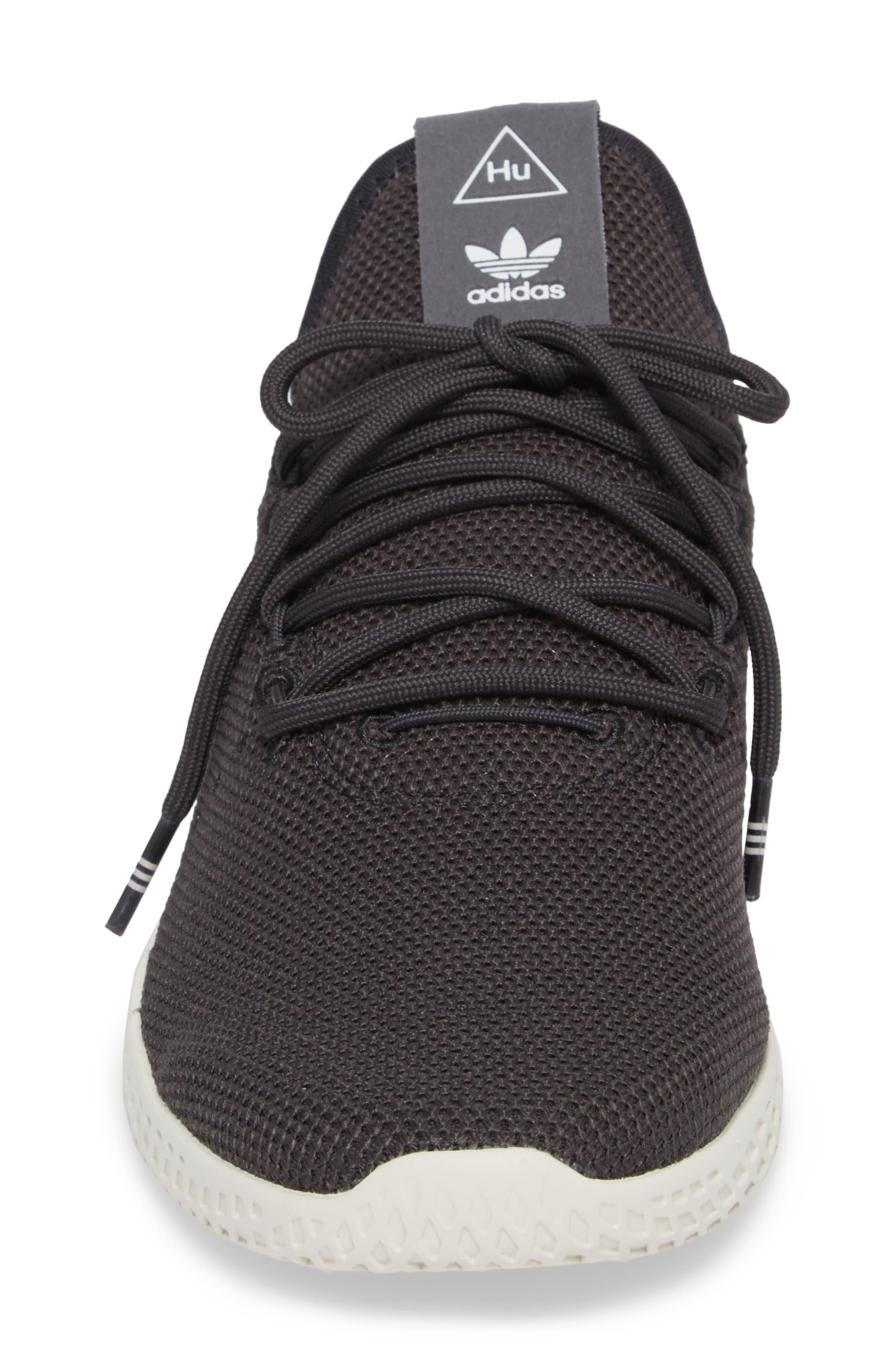 Pharrell Williams Tennis Hu Sneaker,                             Alternate thumbnail 4, color,                             Carbon / Carbon / Chalk White