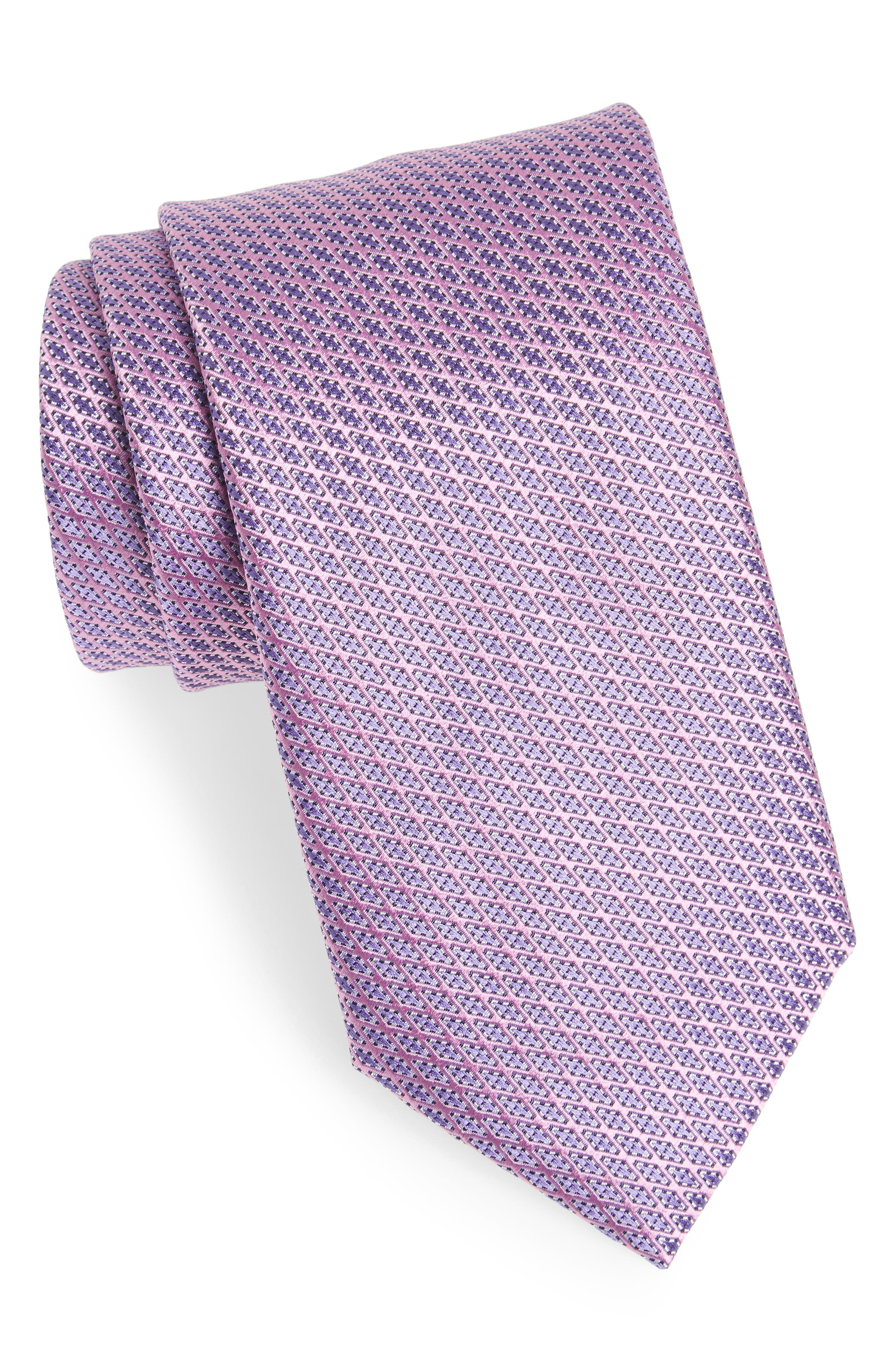 Neat Silk Tie,                         Main,                         color, Pink