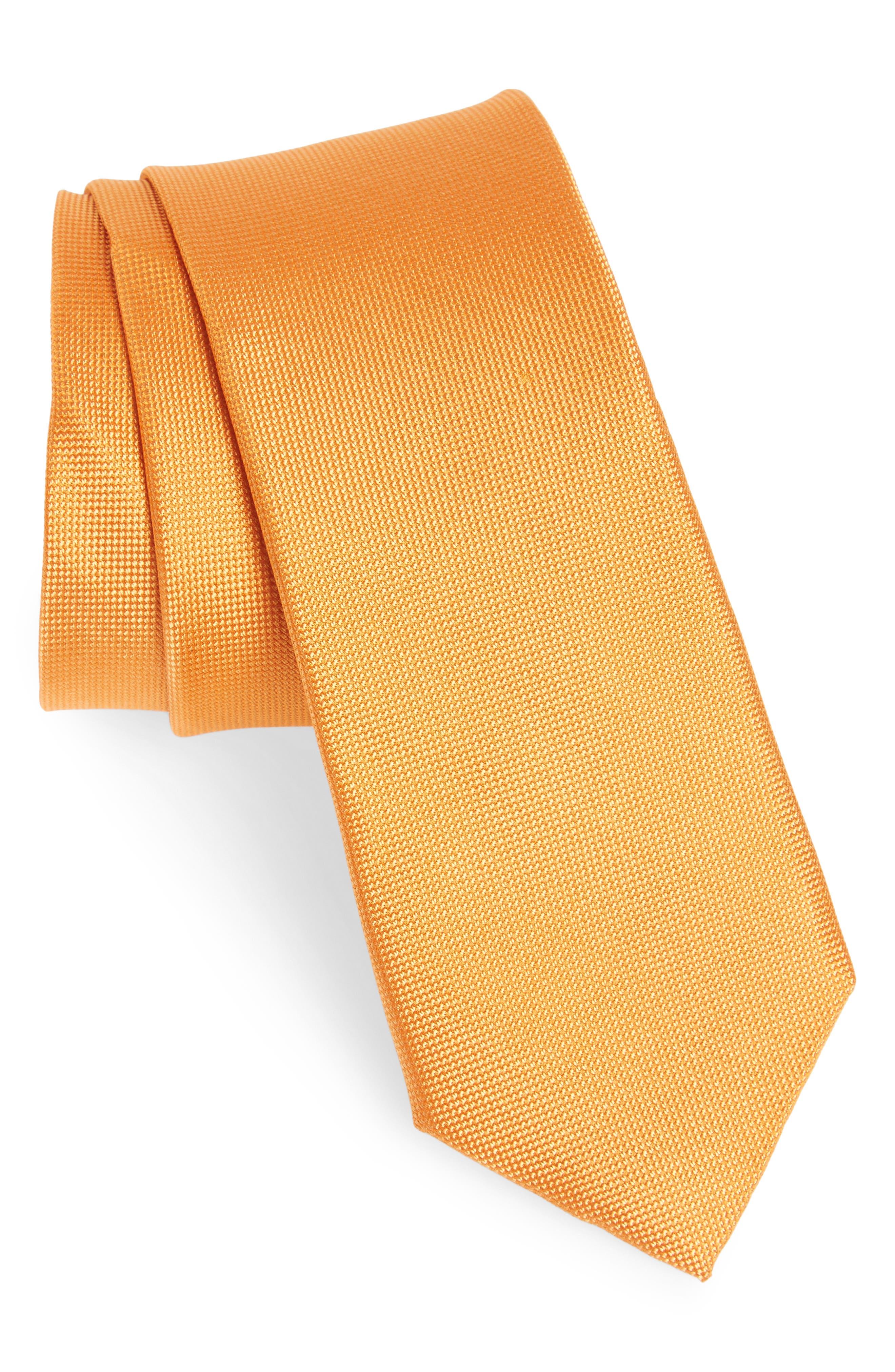 Edith Silk Tie,                         Main,                         color, Orange