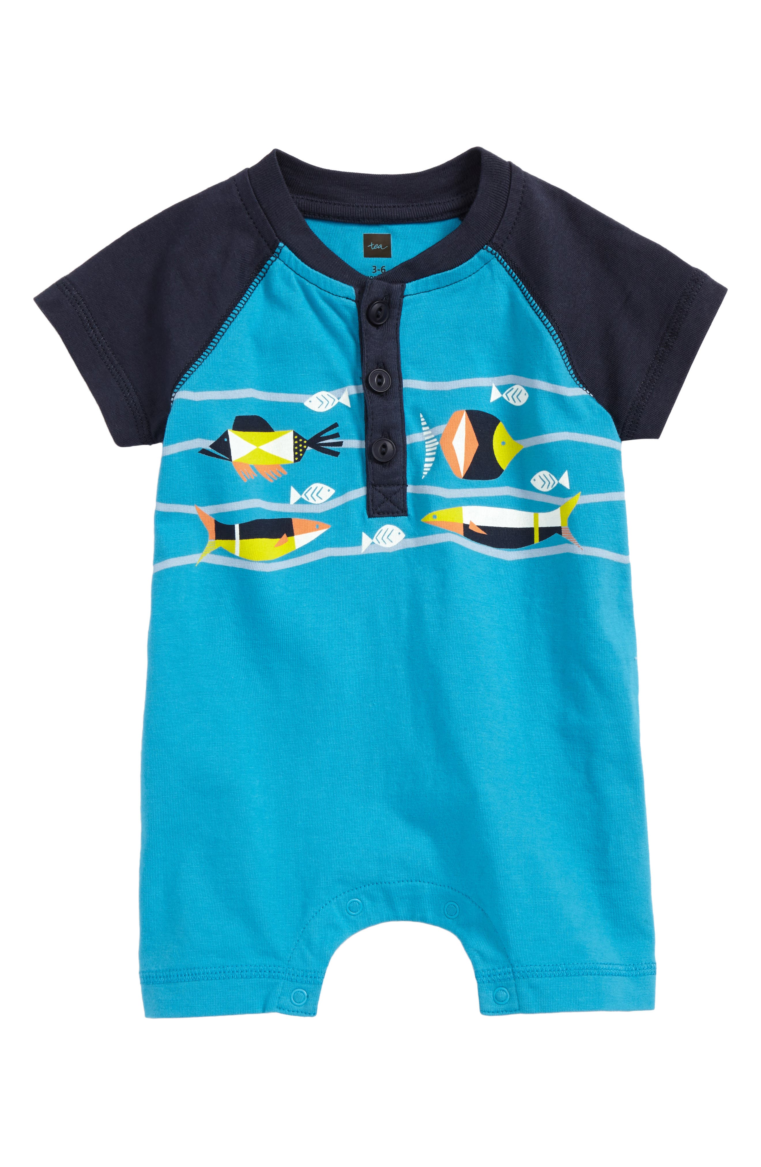 Main Image - Tea Collection Tropical Henley Romper (Baby Boys)