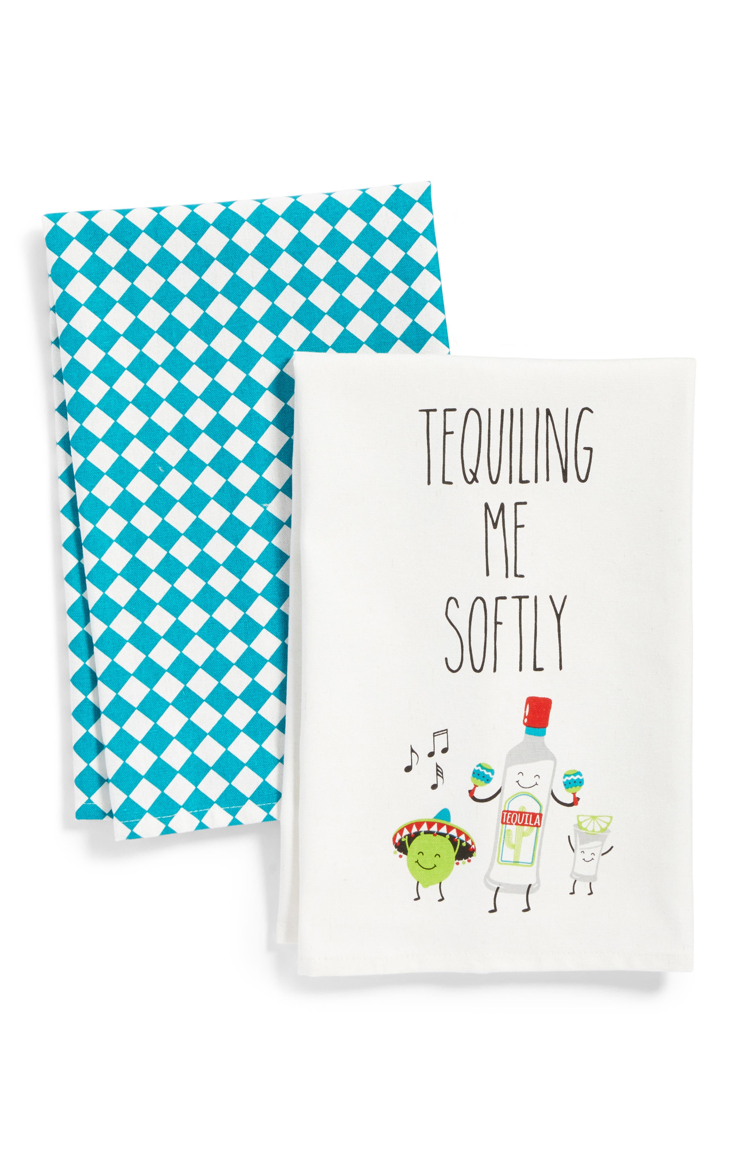 Tequiling Me Softly Set of 2 Dishtowels,                         Main,                         color, Green