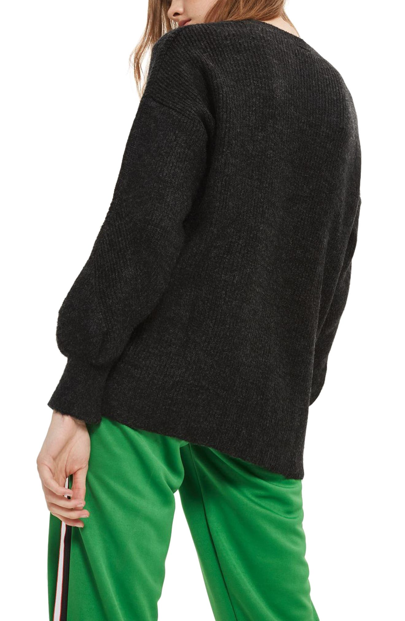 High/Low Ribbed Sweater,                             Alternate thumbnail 2, color,                             Charcoal